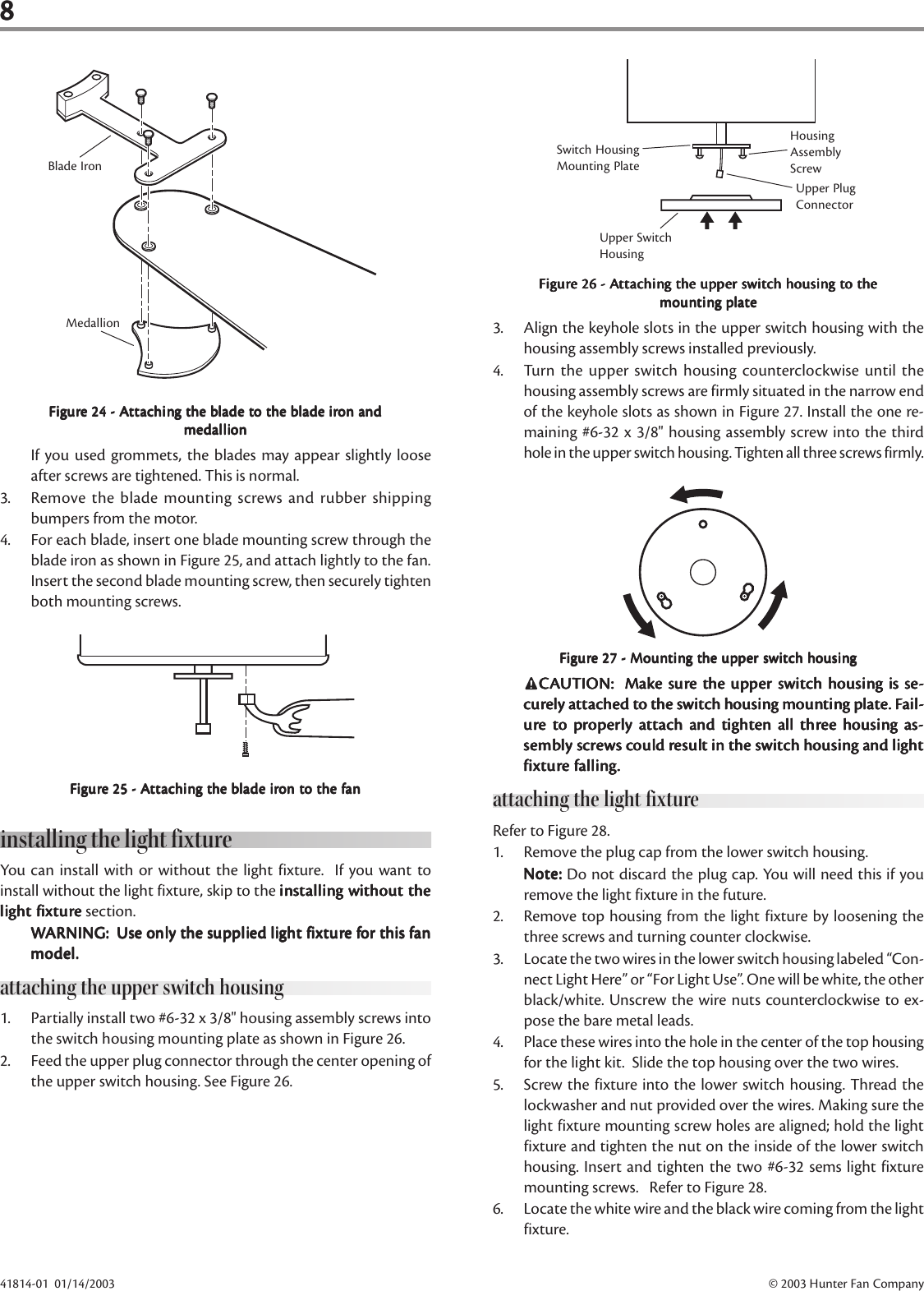 Hunter Fan Indoor Ceiling Users Manual 41801 01 Installation Page 8 Of 11