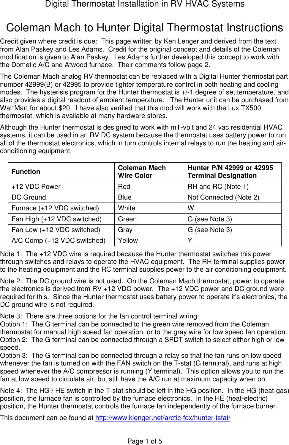 Hunter Fan Thermostat 42995 Users Manual Digital Tstat Instructions Coleman Rv Mach 3 Wiring