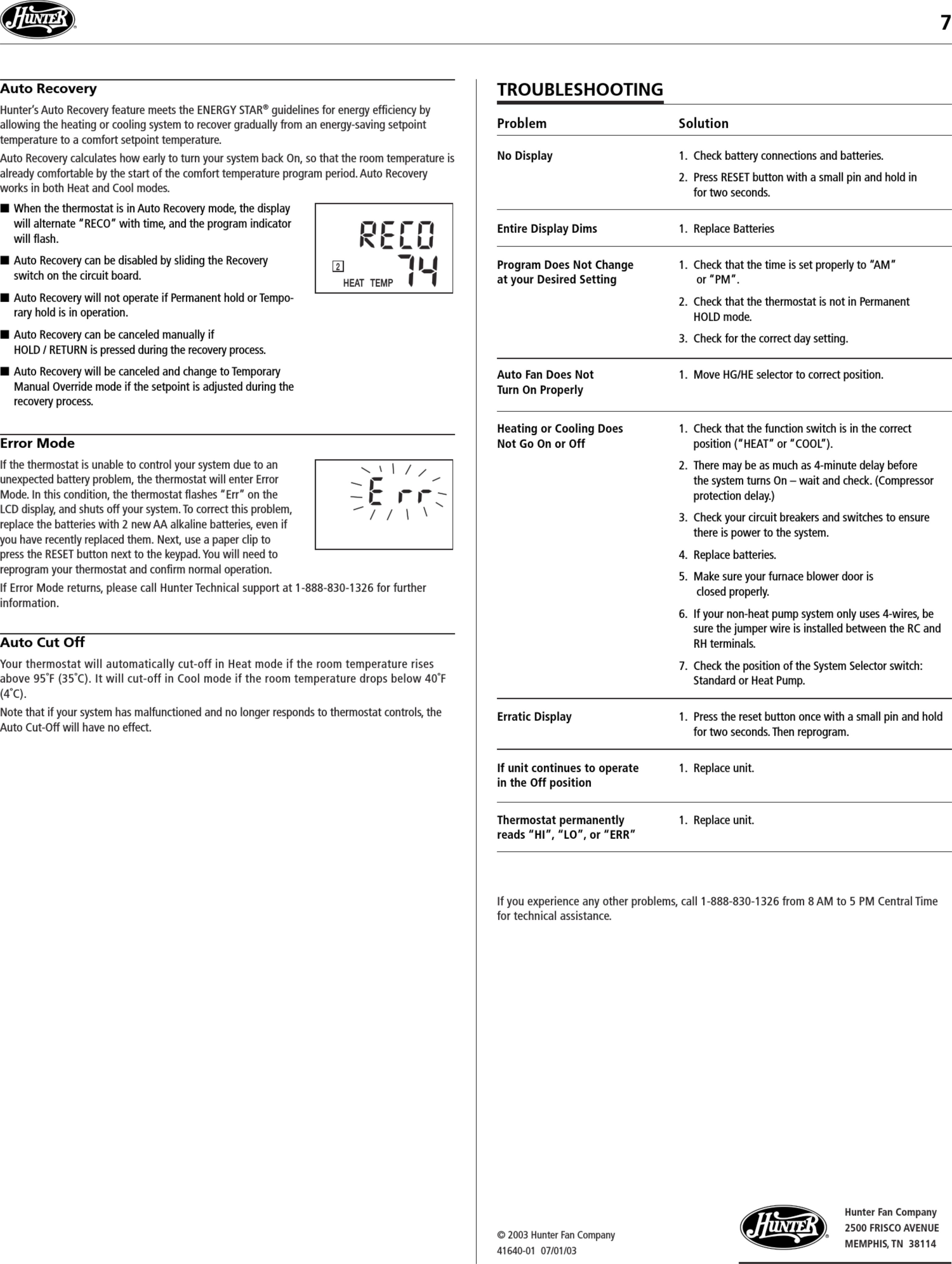 page 7 of 7 - hunter hunter-44260-owners-manual-1003287 user