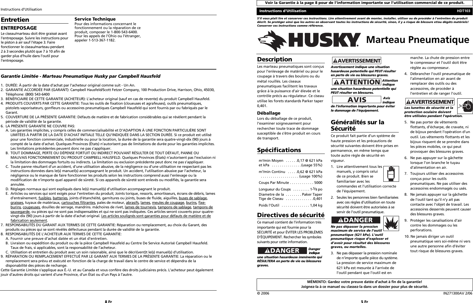 Husky Hdt103 Users Manual 2713 0206