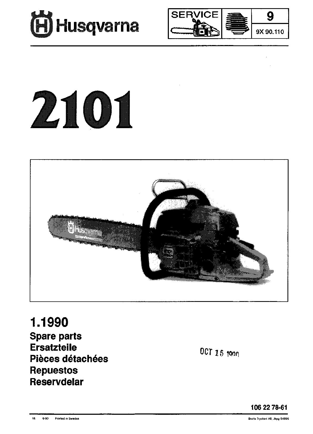 Husqvarna 2101 Users Manual IPL, 2101, 1990 06, Chain Saw