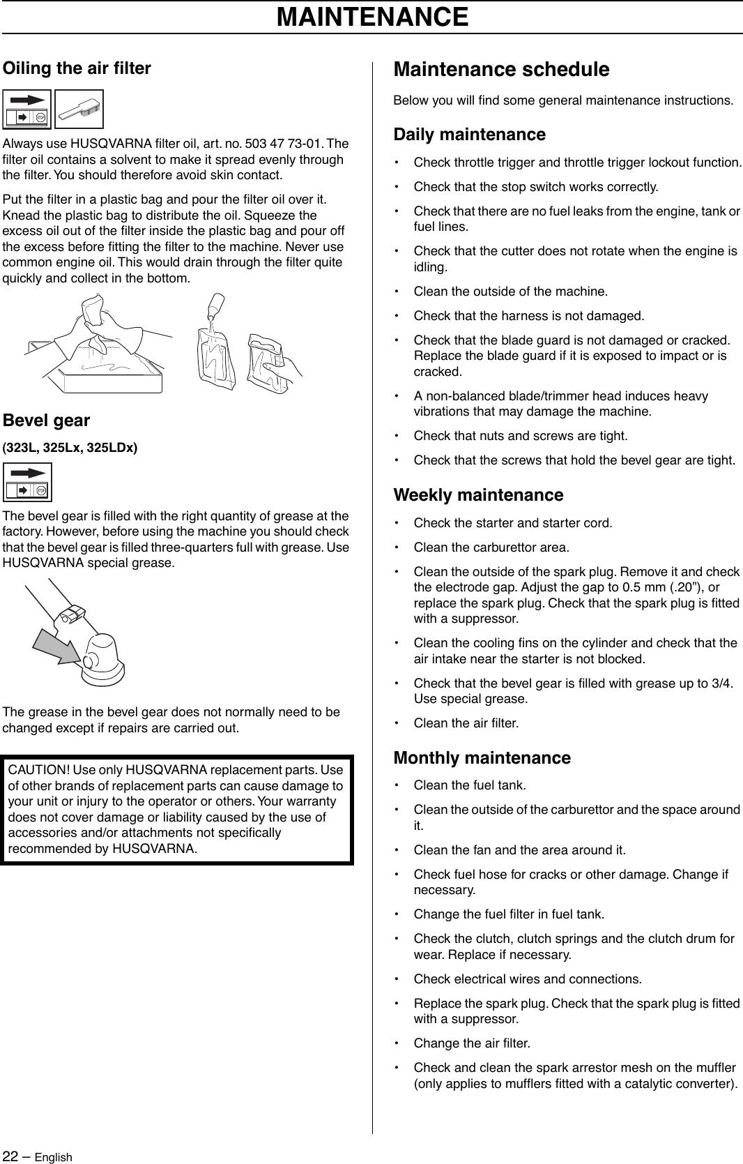 Husqvarna 323C Users Manual OM, 323 C 325 CX, L, LX, LDX