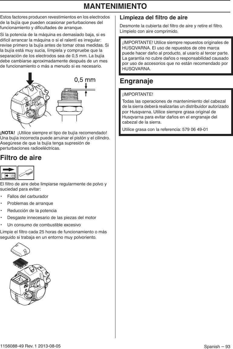 Husqvarna Owner Om327pt5s07UsCaUe 07 Manual 327pt5s S 2013 nw8vmN0