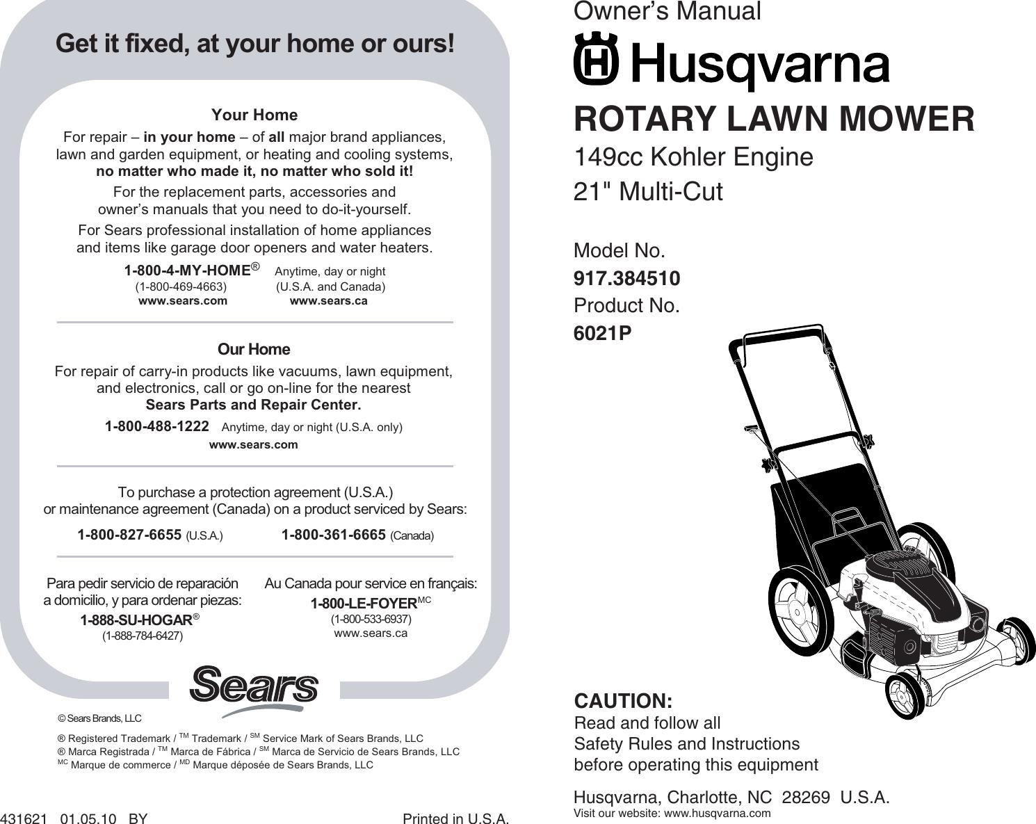 Husqvarna 917 38451 Users Manual OM, 6021P, 2010 01, LAWN MOWERS