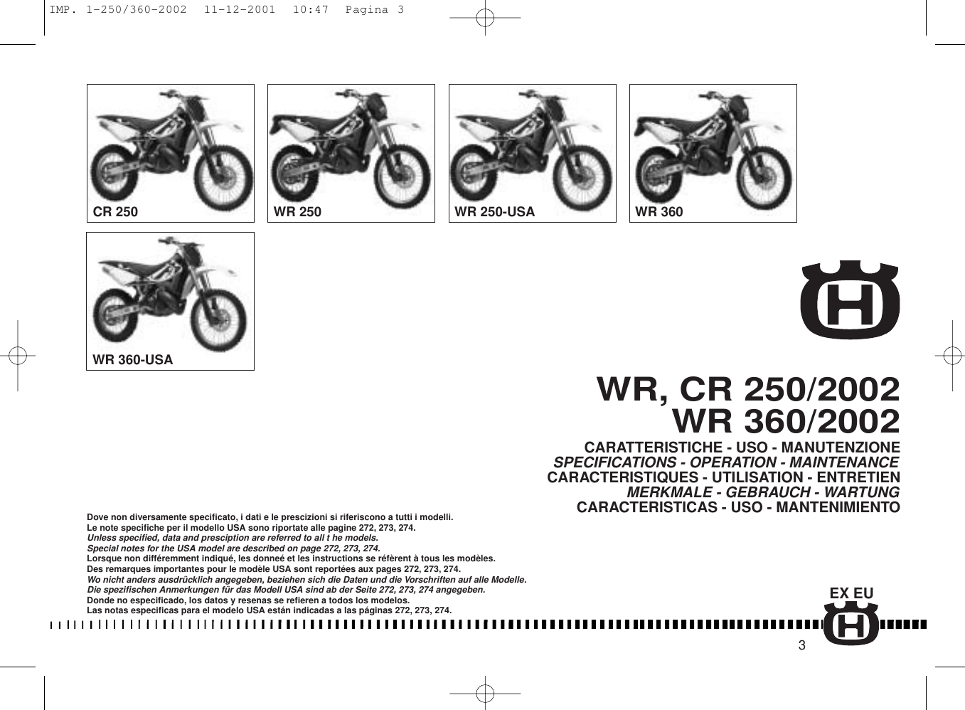 Husqvarna Motorcycle Cr 2002 Users Manual Imp 1 250 360