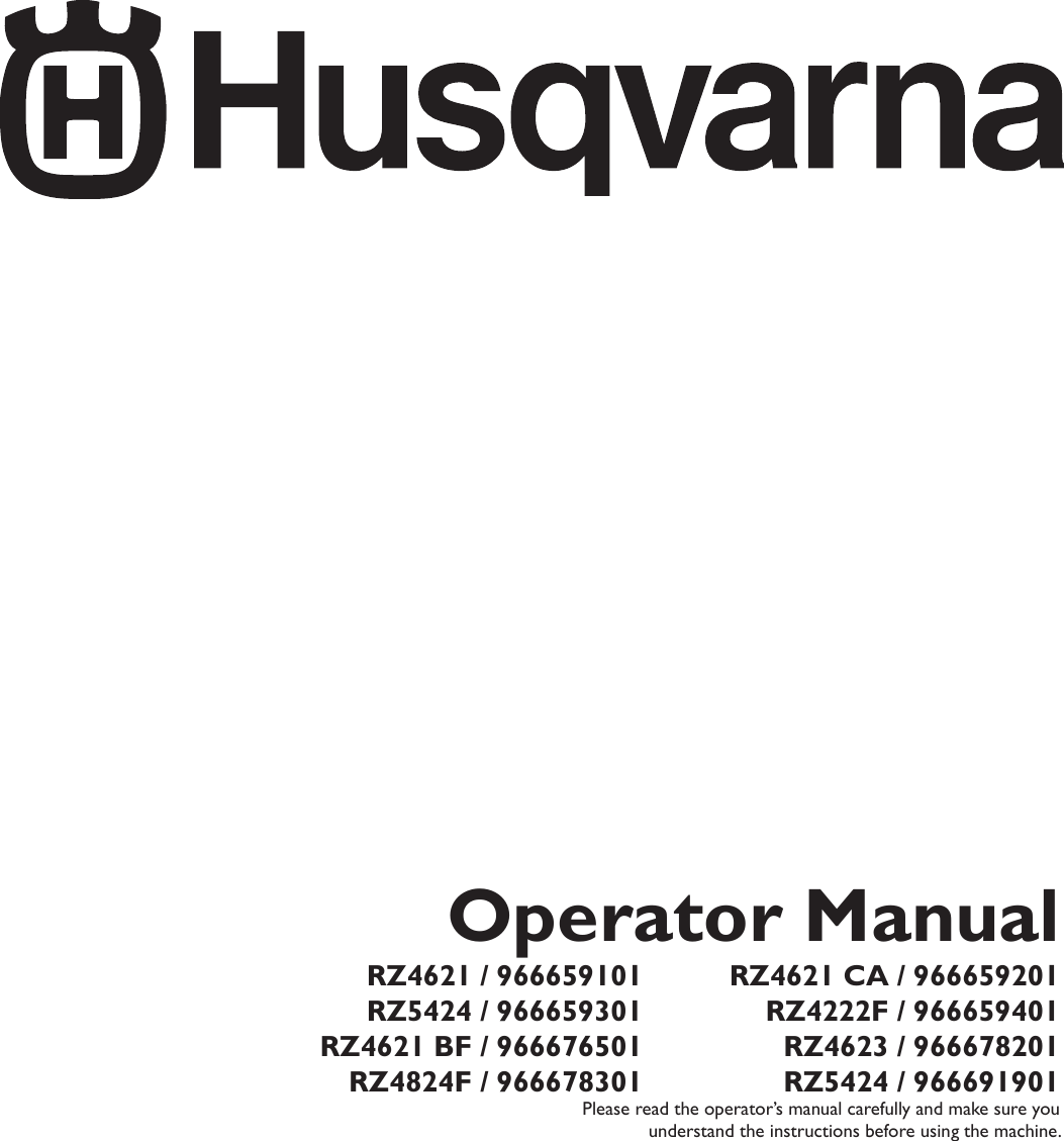 Husqvarna Rz4621 Wiring Diagram Explained Diagrams Rz 4615 Rz4222f 966659401 Users Manual Om Rz4621ca