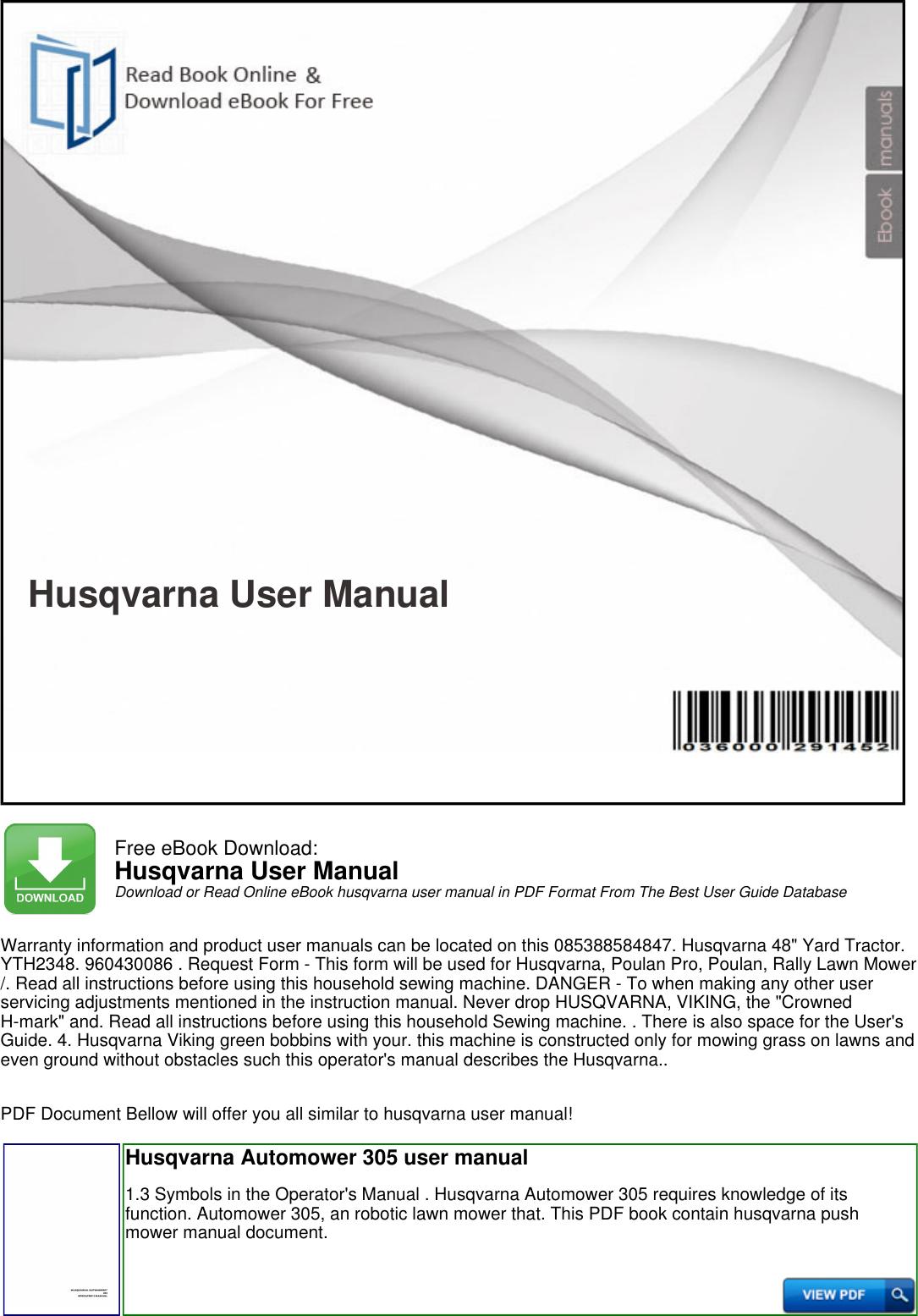 husqvarna hu800awd manual