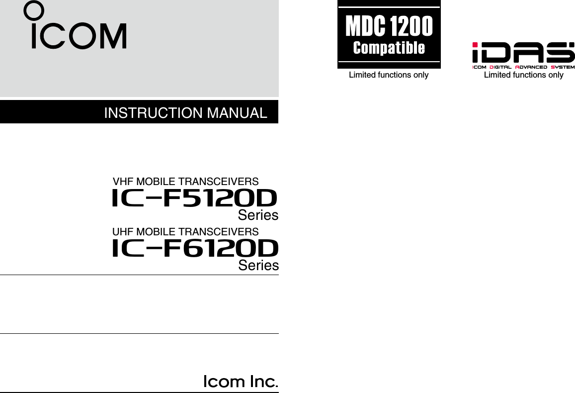 ICOM orporated 333100 VHF Mobile Transceiver User Manual IC F5020