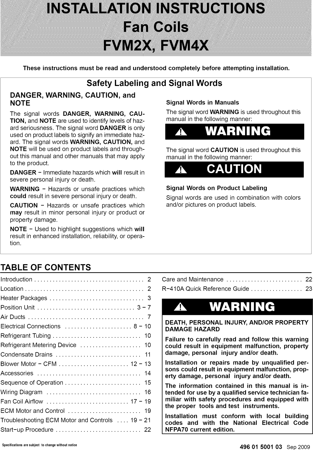 Icp Fvm2x2400a User Manual Fan Coil Manuals And Guides 1209404l Ecm Wiring Diagram
