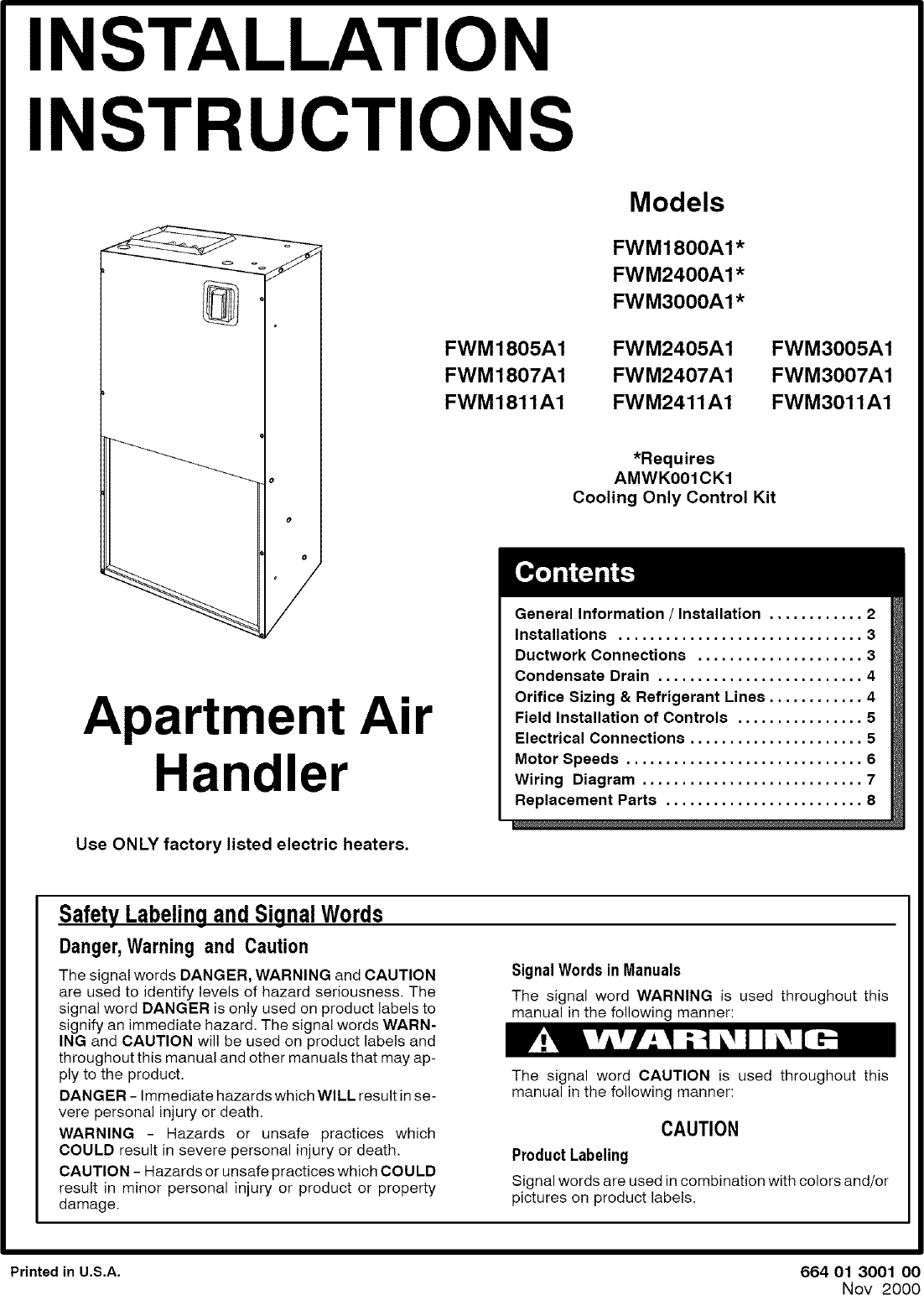 Icp Fwm2400a1 User Manual Air Handler Manuals And Guides L0502487 Apartment Wiring Diagram