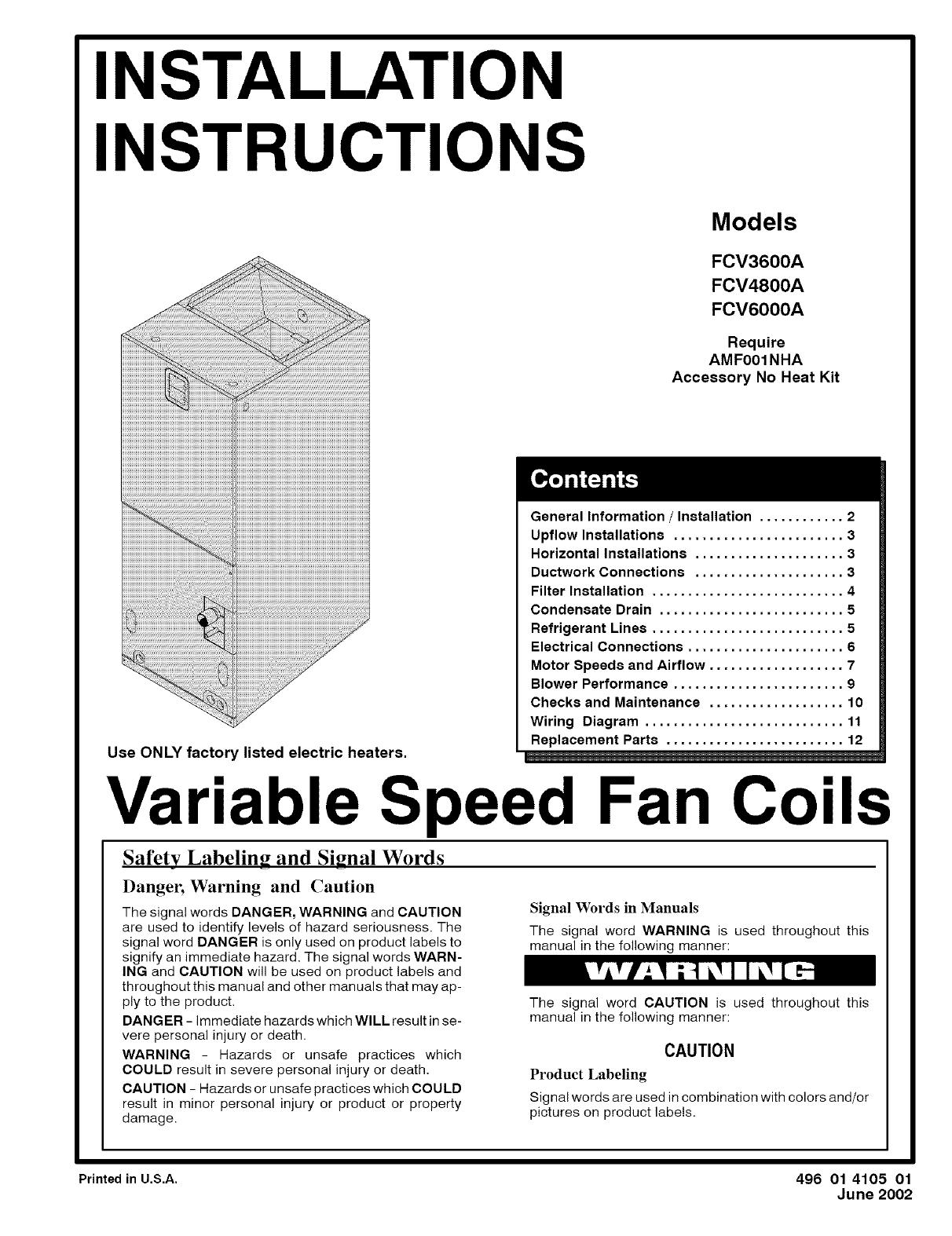ICP Air Handler (indoor Blower&evap) Manual L0502497 Icp Air Handler Wiring Diagram on