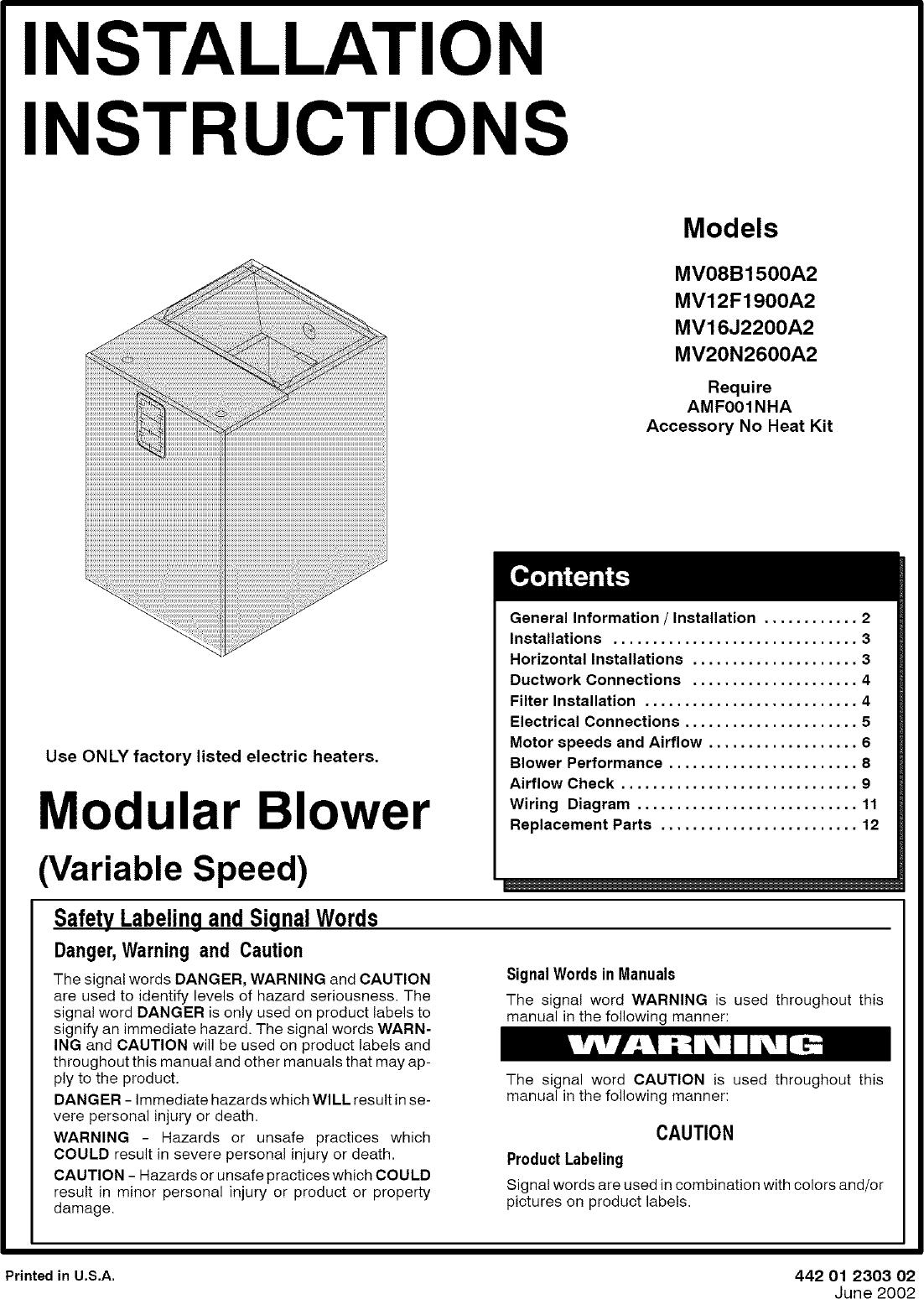 ICP Air Handler (indoor Blower&evap) Manual L0523222