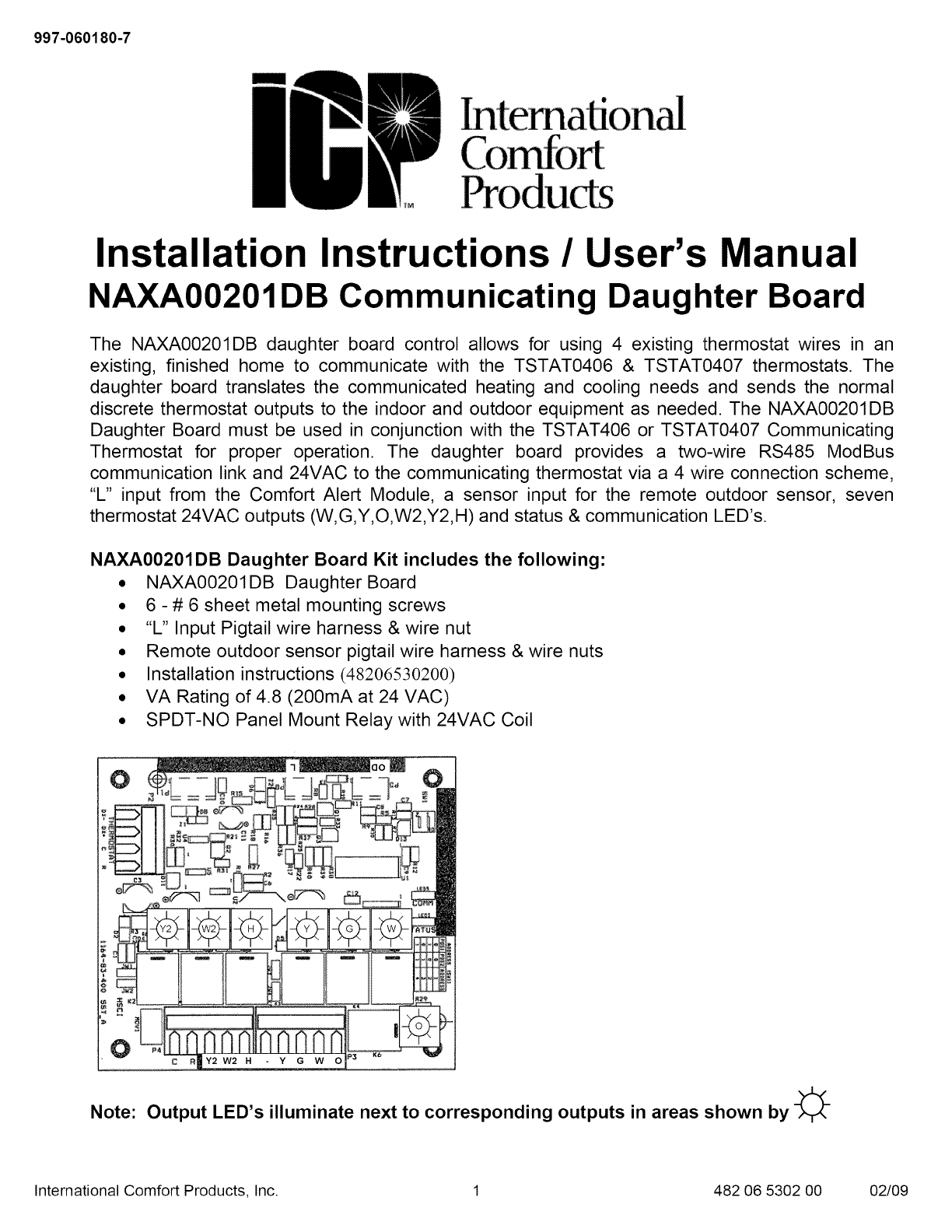 ICP Controls And HVAC Accessories Manual L0909228 on