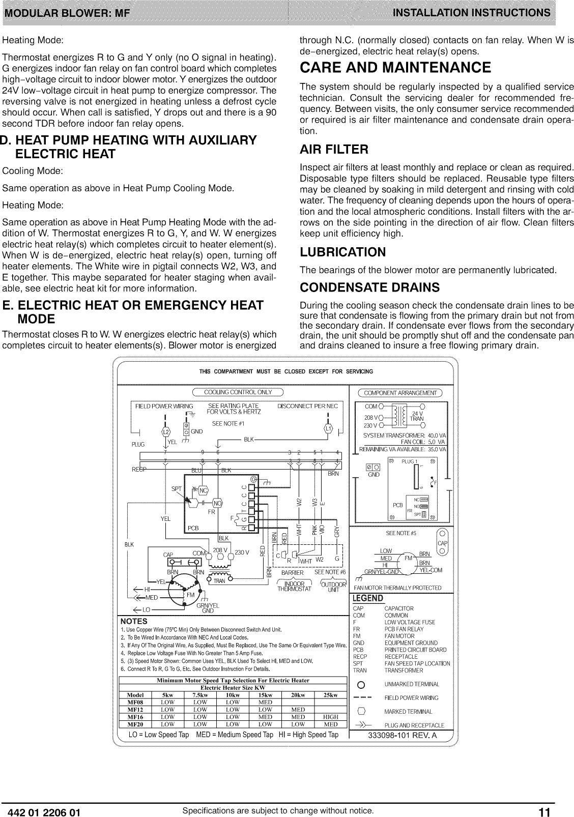 icp air handler (indoor blower\u0026evap) manual l0909283page 11 of 12 icp air handler (indoor blower\u0026evap) manual l0909283