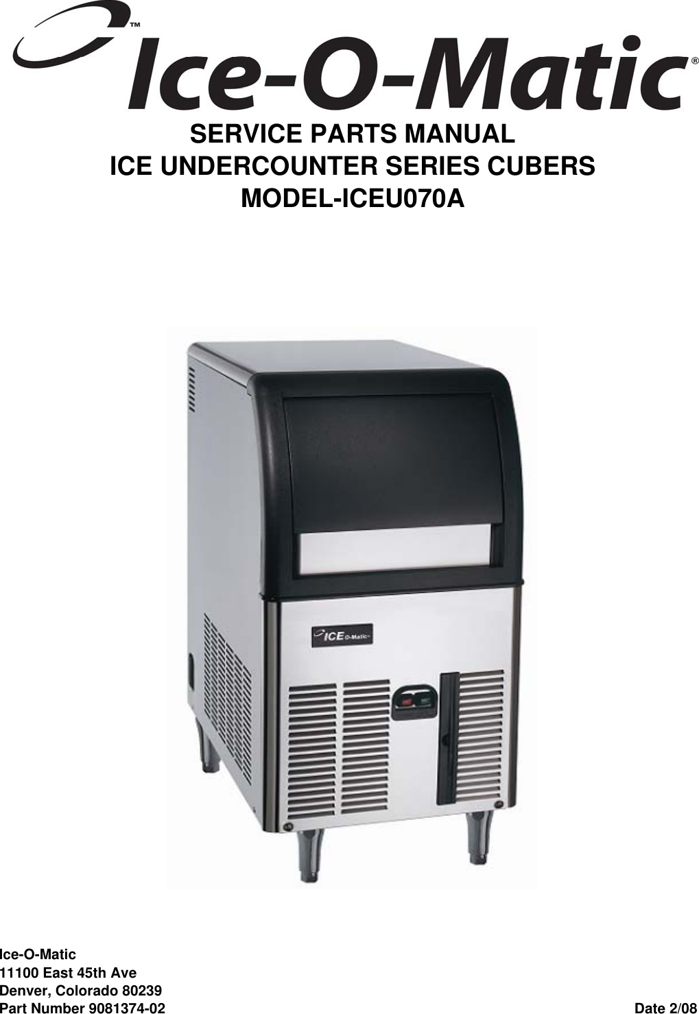 Ice O Matic Iceu070 Users Manual Iceu070apartsvp Wiring Diagram