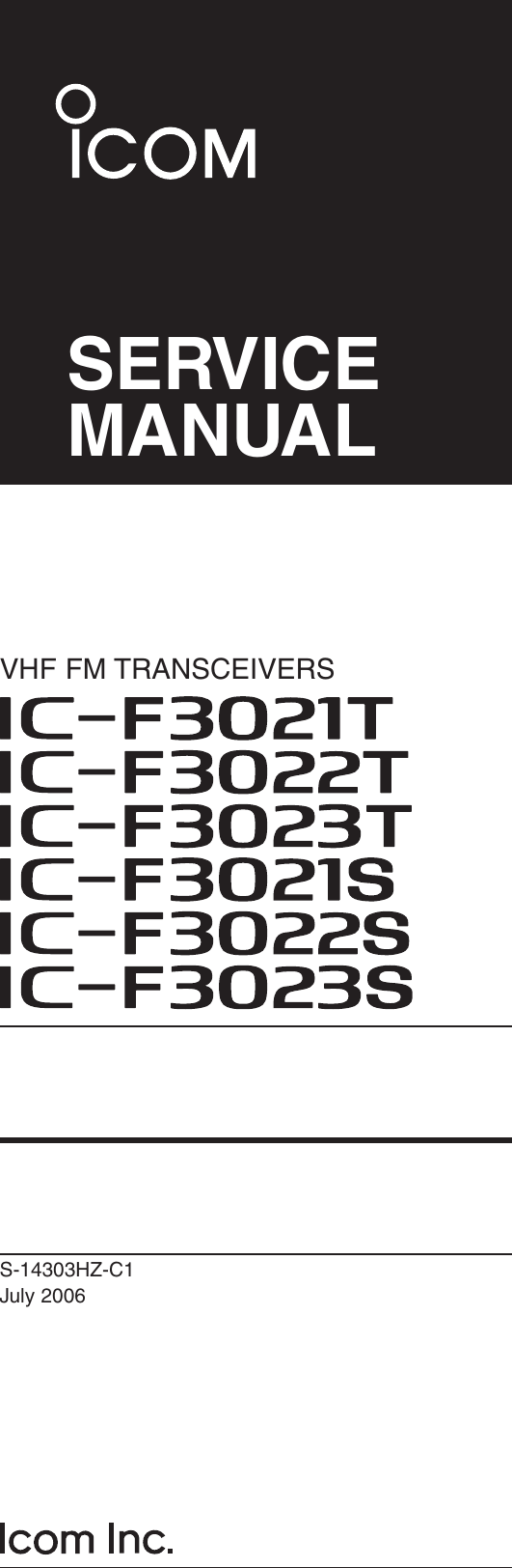 Icom Ic F3021S Users Manual F3020 Series SERVICE