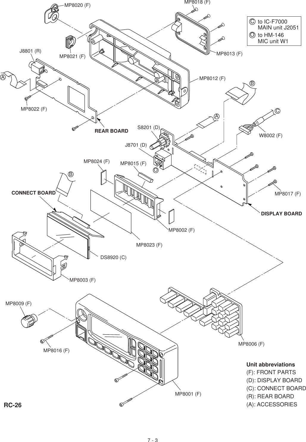 Icom Hm 46 Wiring Diagram Page 6 And Schematics Circuit Abbreviations Diagrams Source Unit F Front Parts D Display Board C