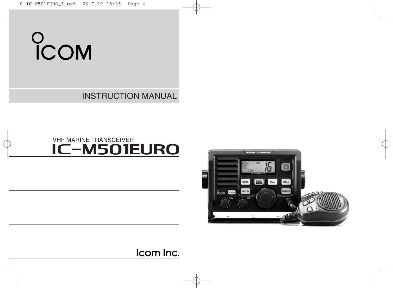 Icom Im501Euro Users Manual IC M501EURO Instruction