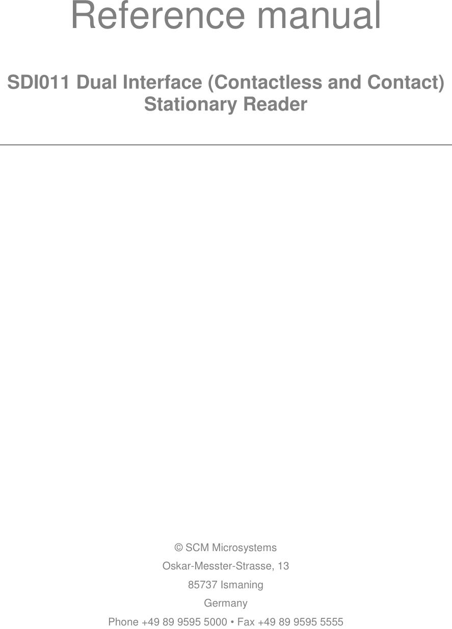 Identiv SDI011-1000 Smart Card Reader User Manual Reference