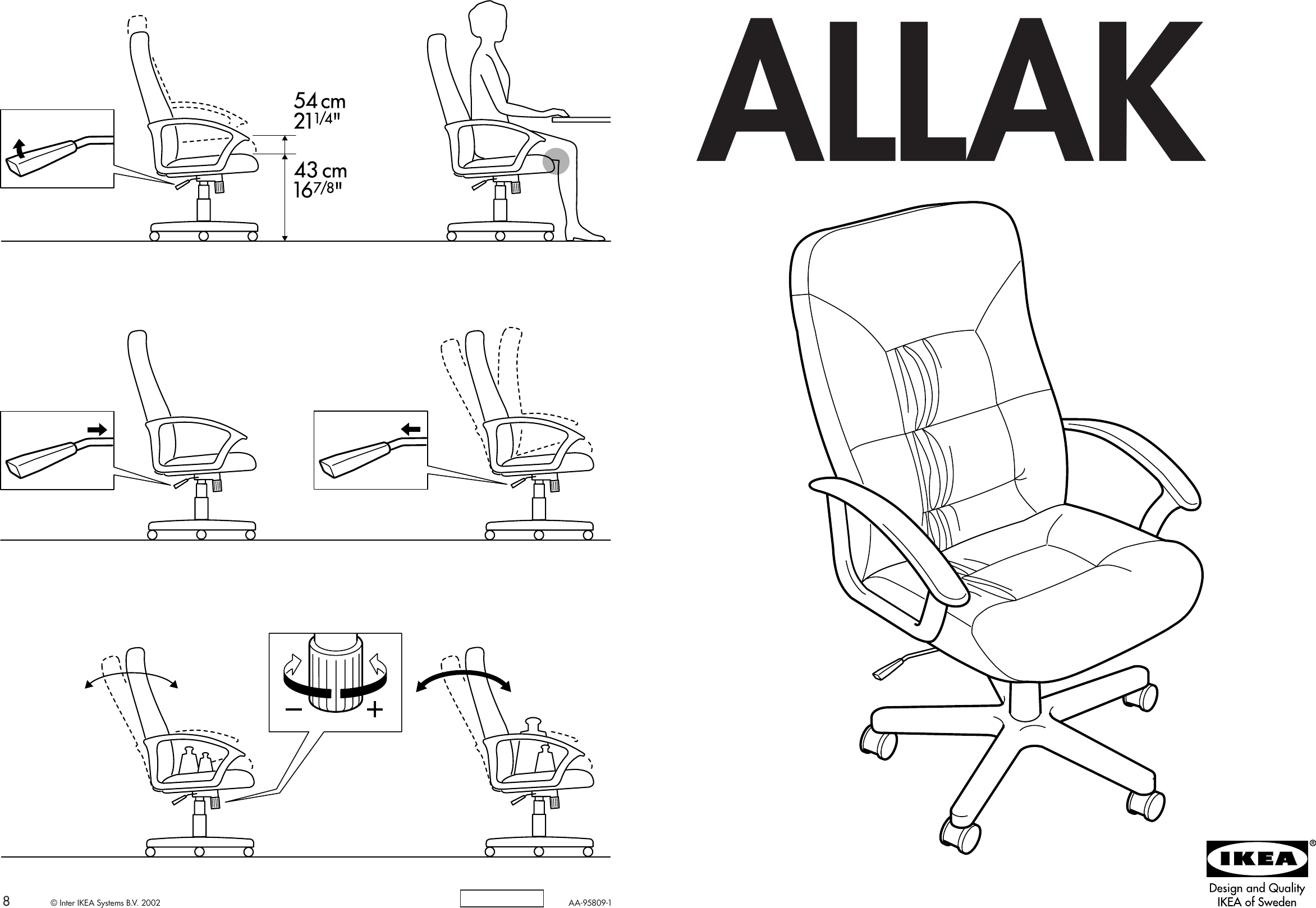 Ikea Allak Swivel Chair Blk Cf Assembly Instruction 3