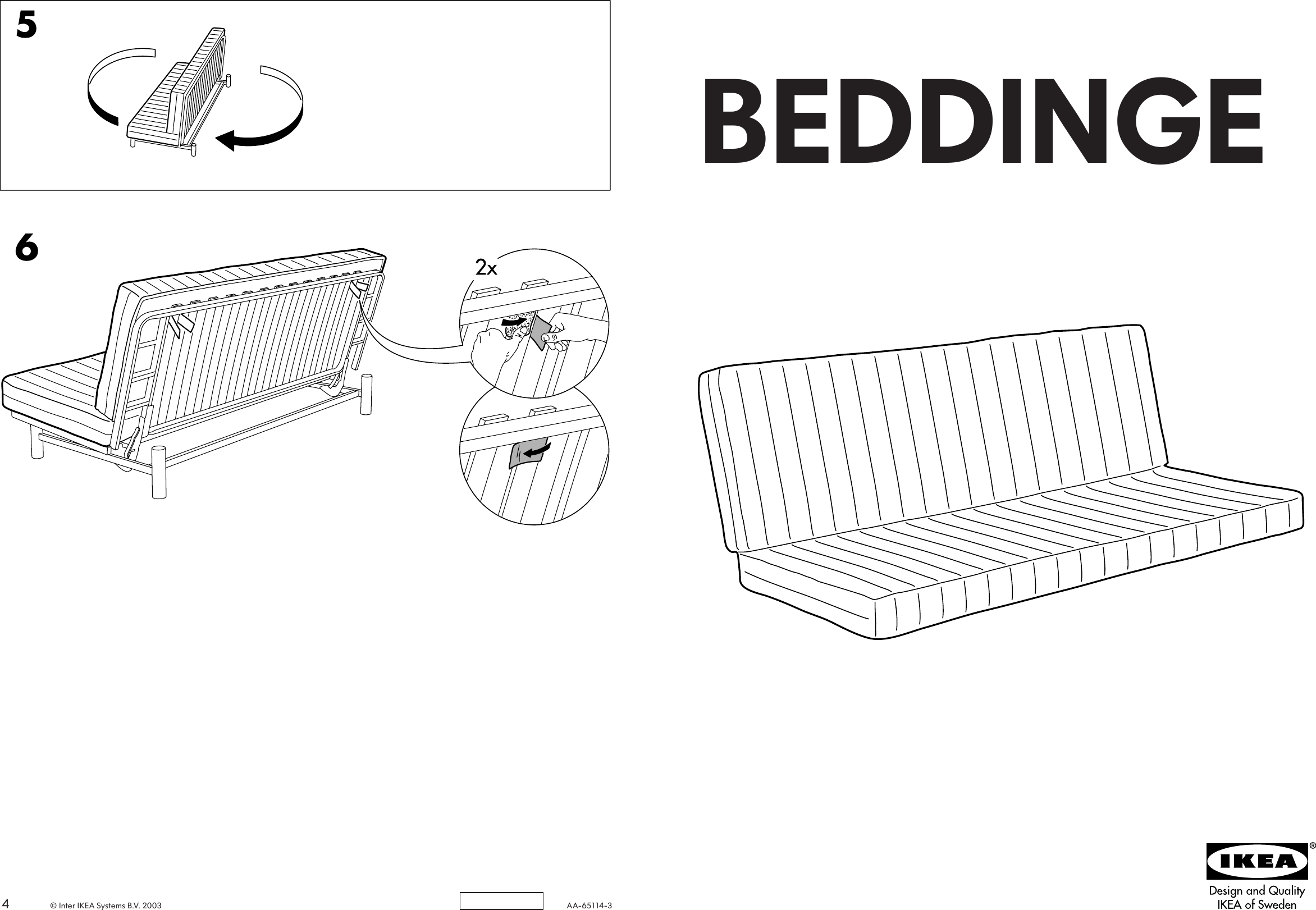 Page 1 Of 2 Ikea Beddinge Sofa Bed Mattress