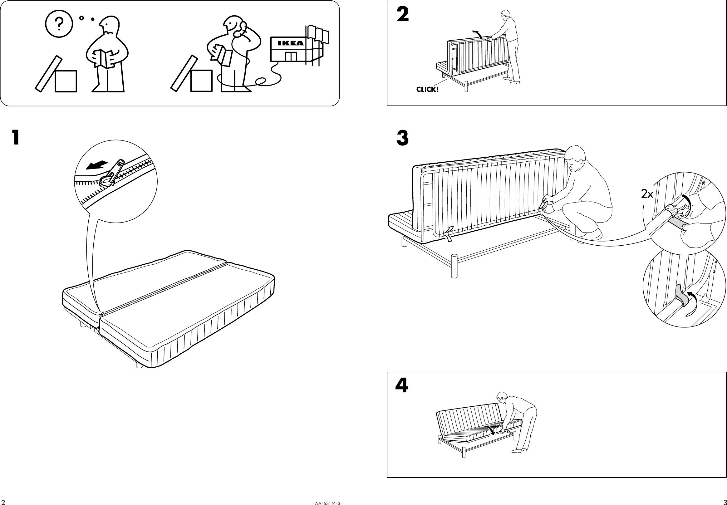 Ikea Beddinge Sofa Bed Mattress Assembly Instruction
