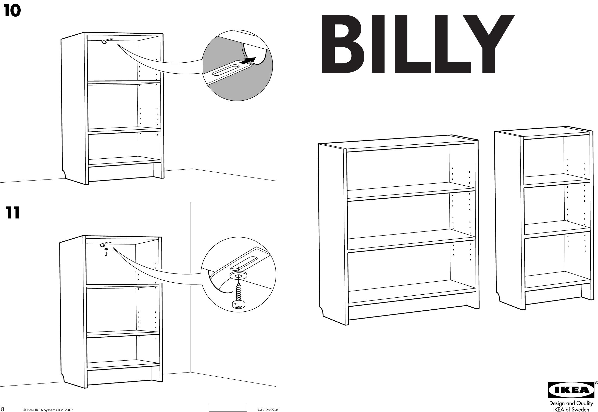 Ikea Billy Bookcase 41 3 4 Tall Assembly Instruction