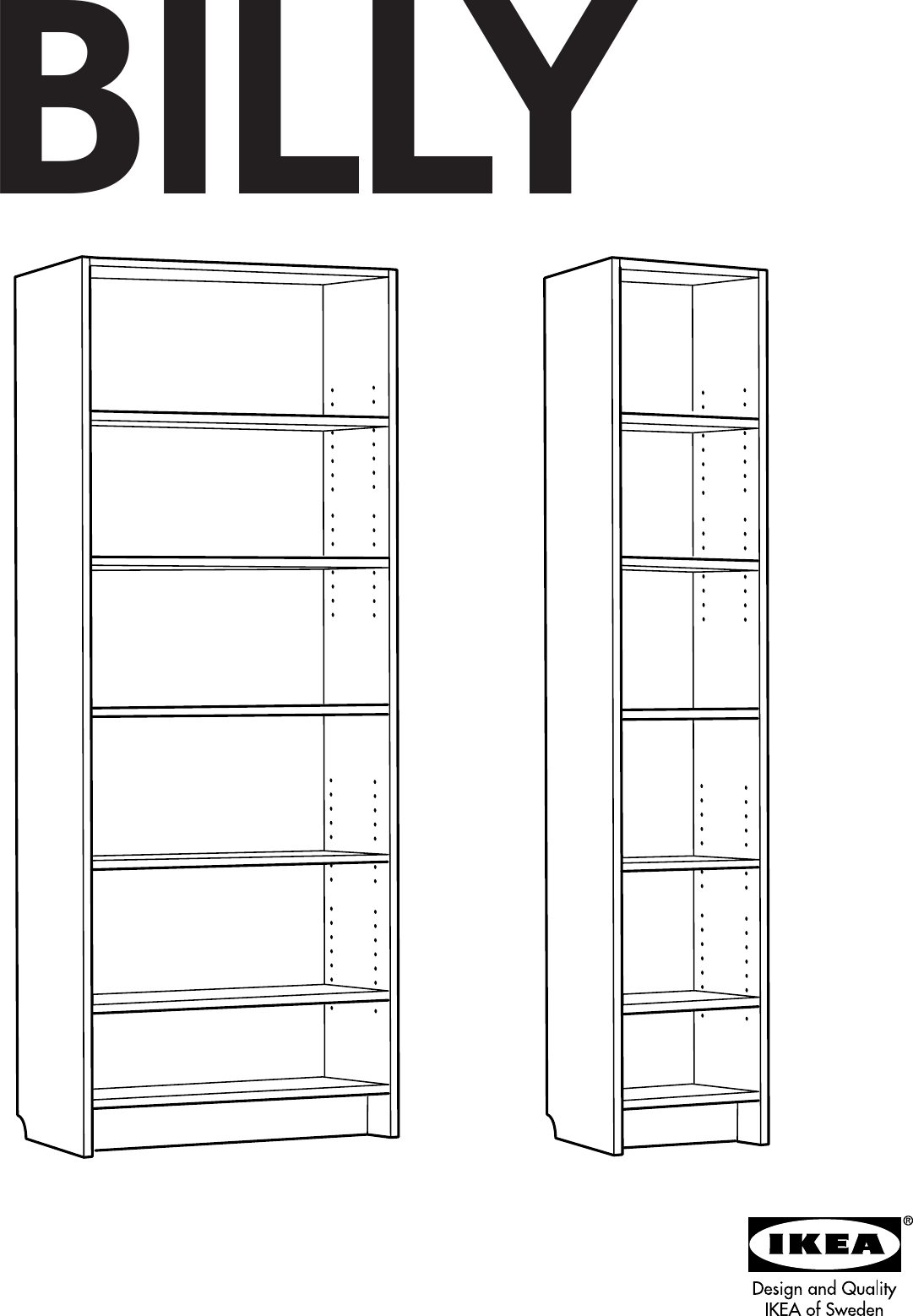Ikea Billy Bookcase 80 Tall Assembly Instruction