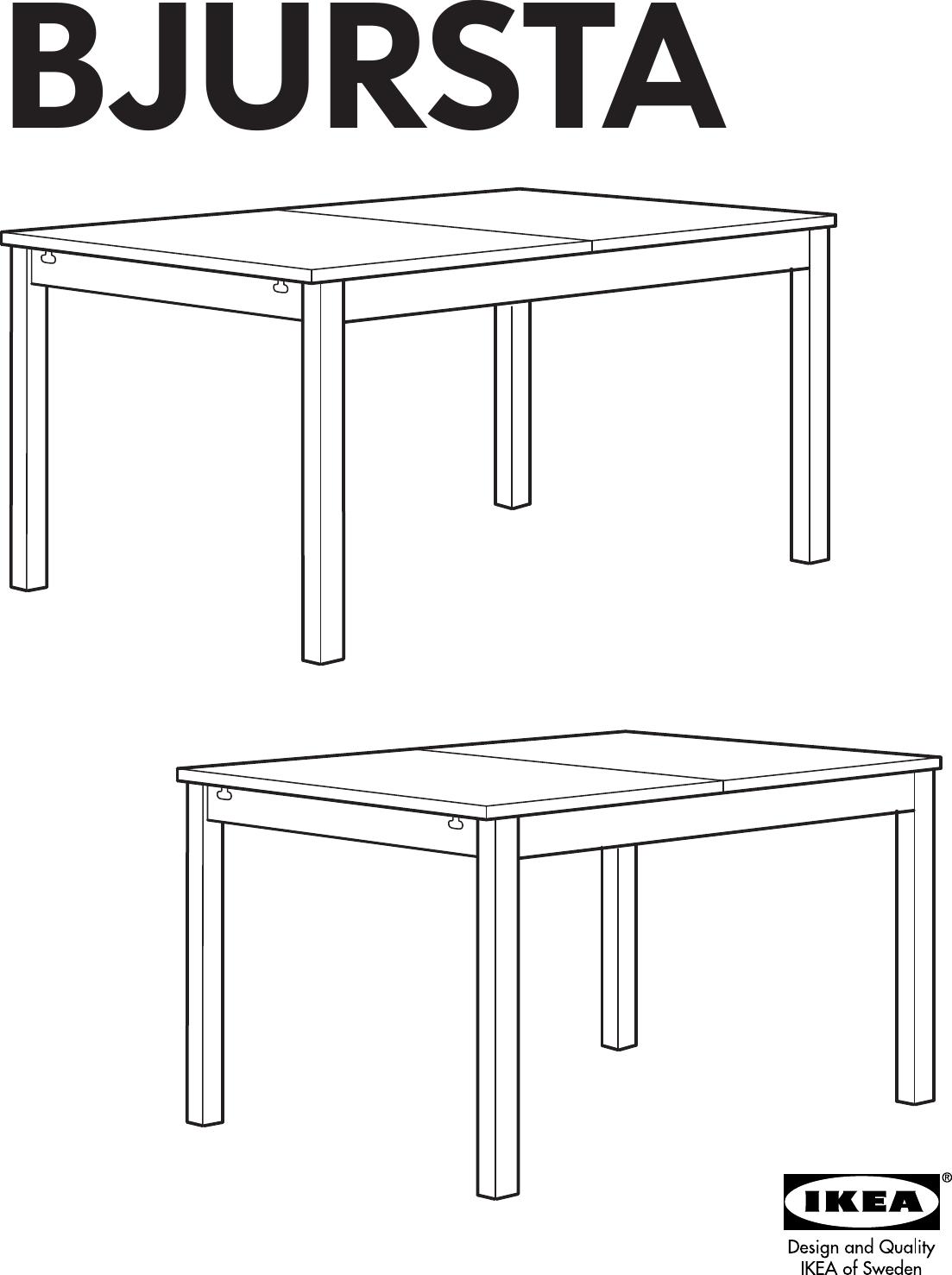 Ikea Bjursta Extendable Dining Table 69 86 102 X37 Assembly Instruction