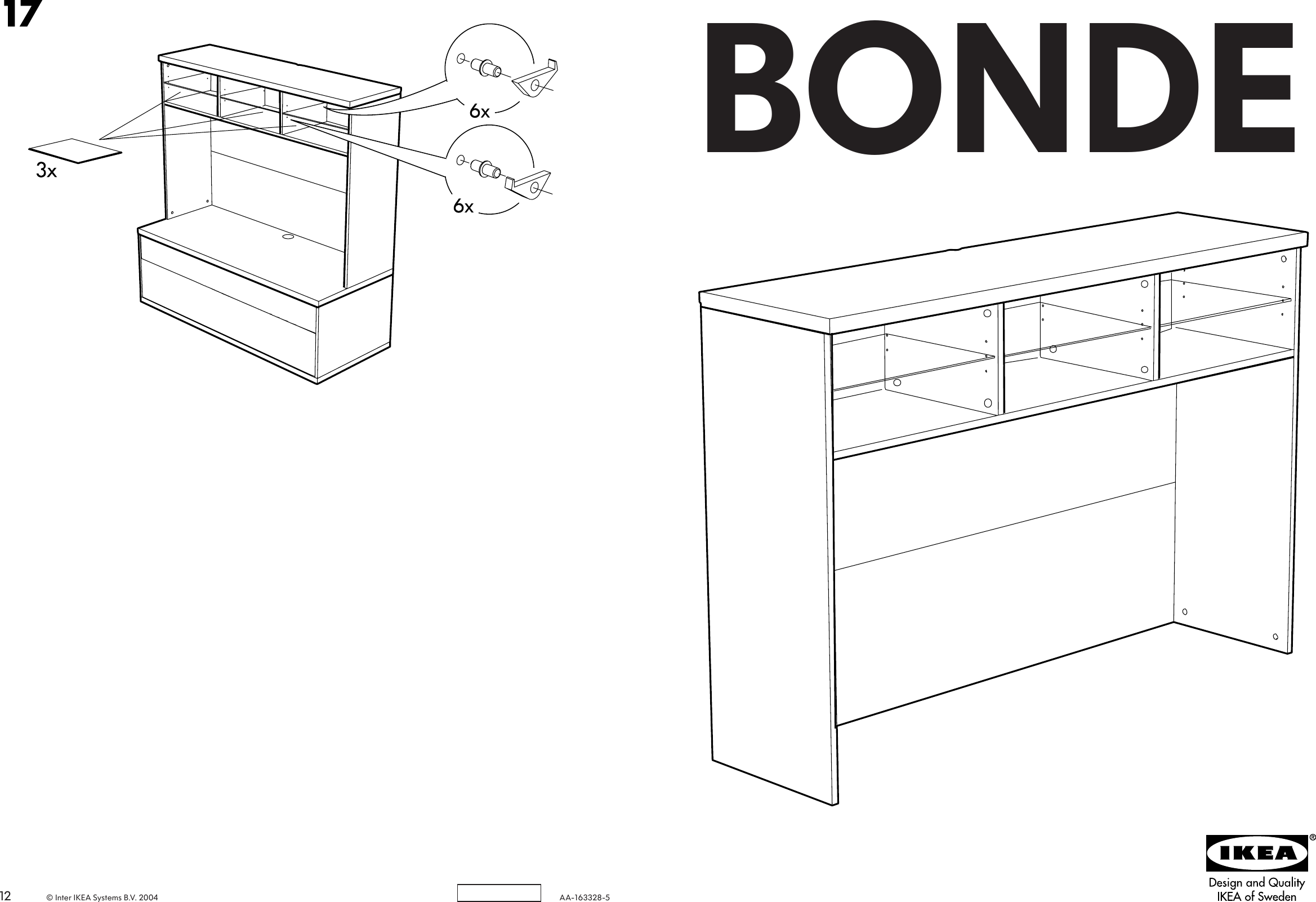 Page 1 of 6 - Ikea Ikea-Bonde-Add-On-For-Tv-Unit-57X40-Assembly-Instruction-3  Ikea-bonde-add-on-for-tv-unit-57x40-assembly-instruction