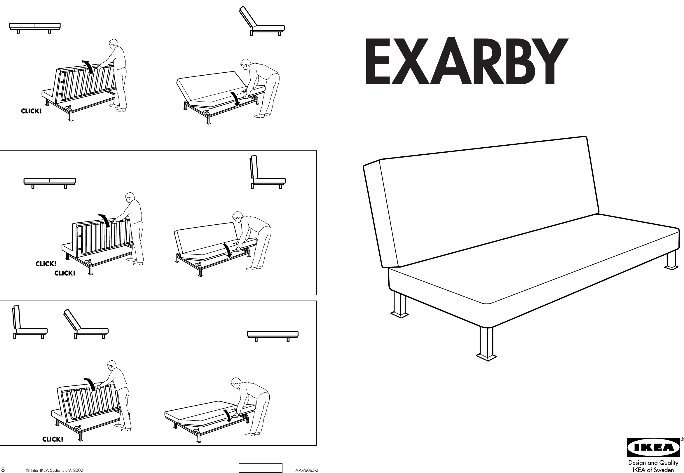 Ikea Exarby Sofa Bed Frame Embly Instruction 3
