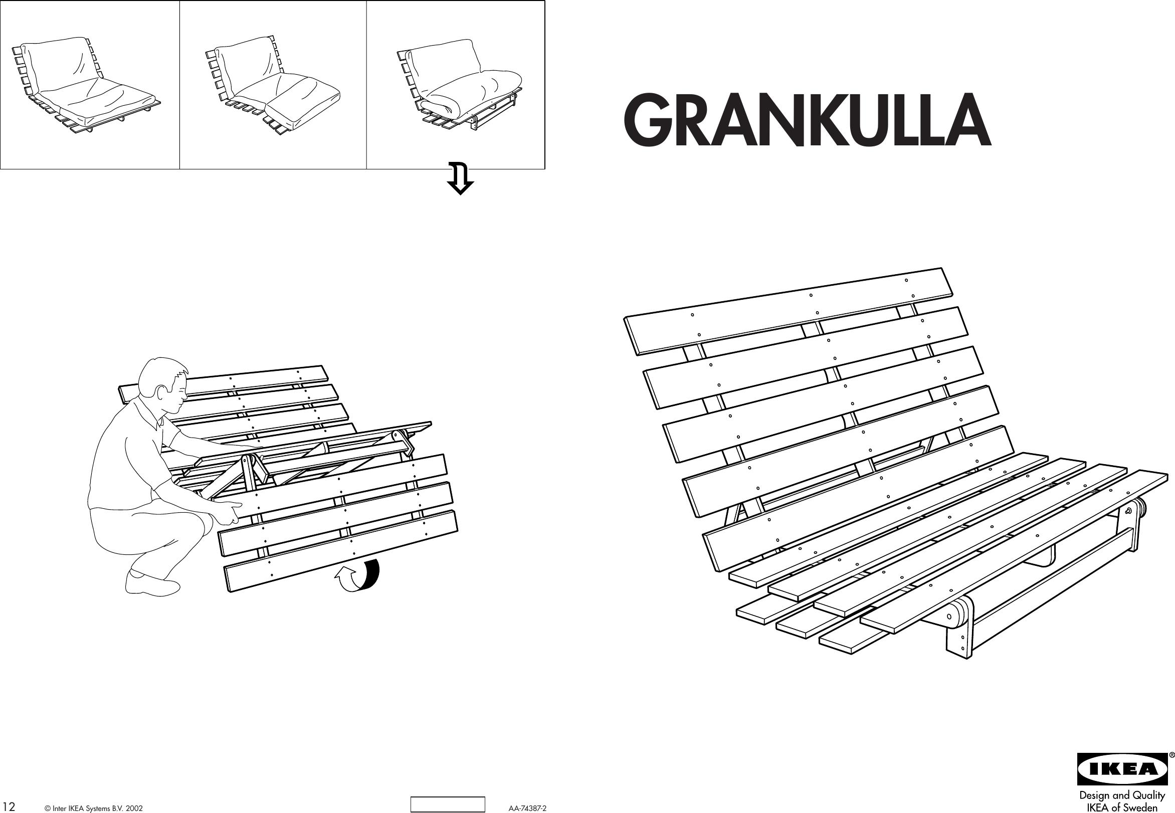 Ikea Grankulla Futon Sofa Frame 55x43x32 Embly Instruction 2