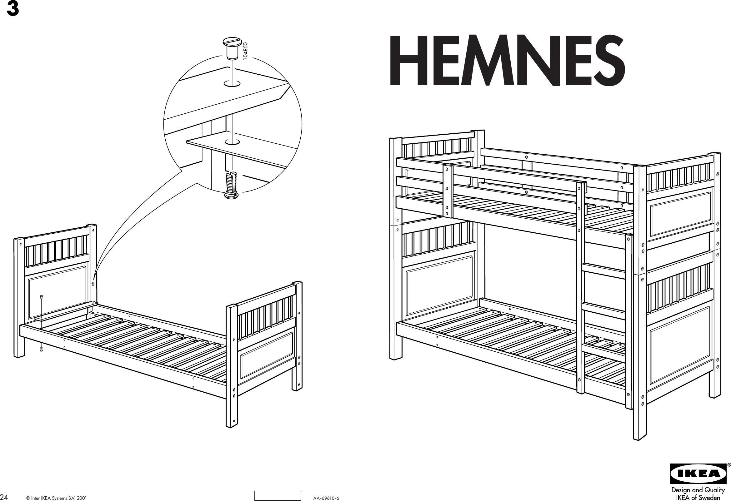 Ikea Hemnes Bunk Bedframe Twin Assembly Instruction