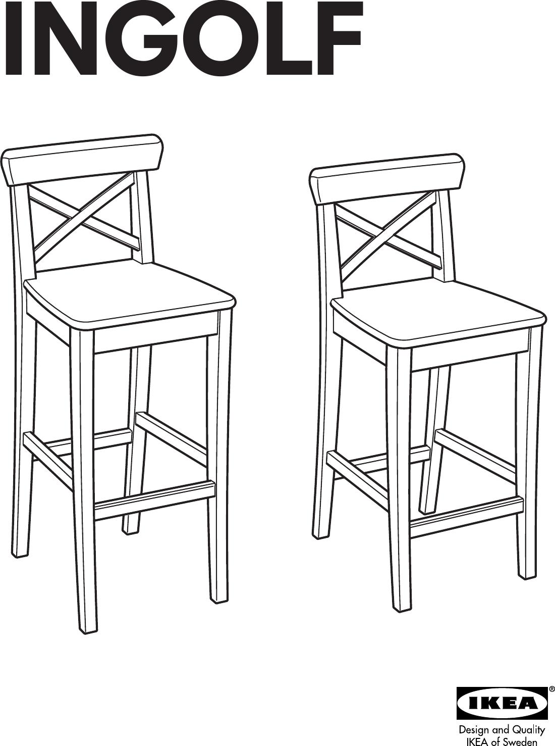 Sensational Ikea Ingolf Bar Stool W Backrst 29 1 8 Assembly Instruction Andrewgaddart Wooden Chair Designs For Living Room Andrewgaddartcom