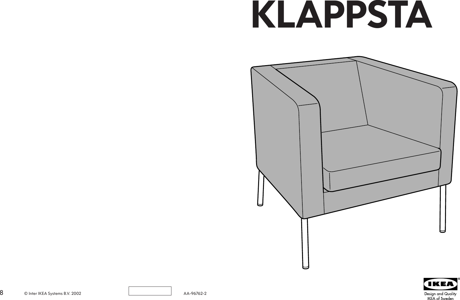 Nieuw Ikea Klappsta Chair Cover Assembly Instruction AH-93