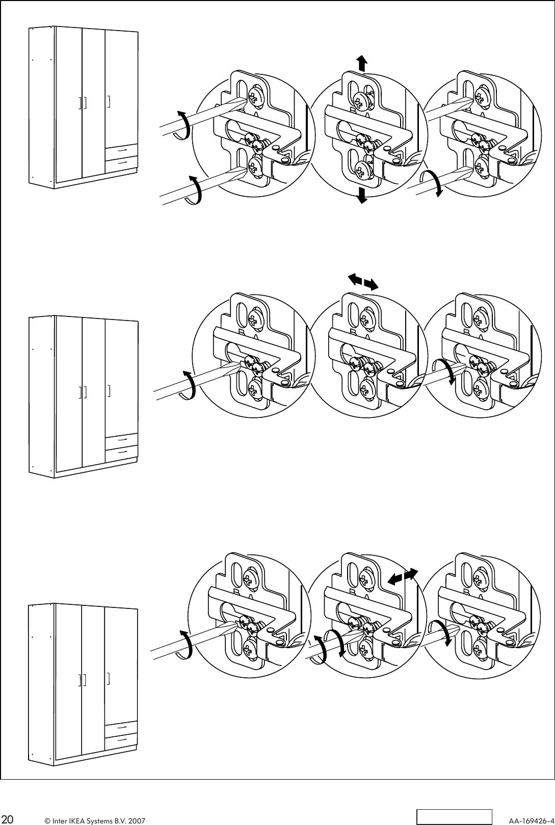 Instruction 3doors Assembly Ikea Wardrobe W 57x75 Kullen Nvn0mw8