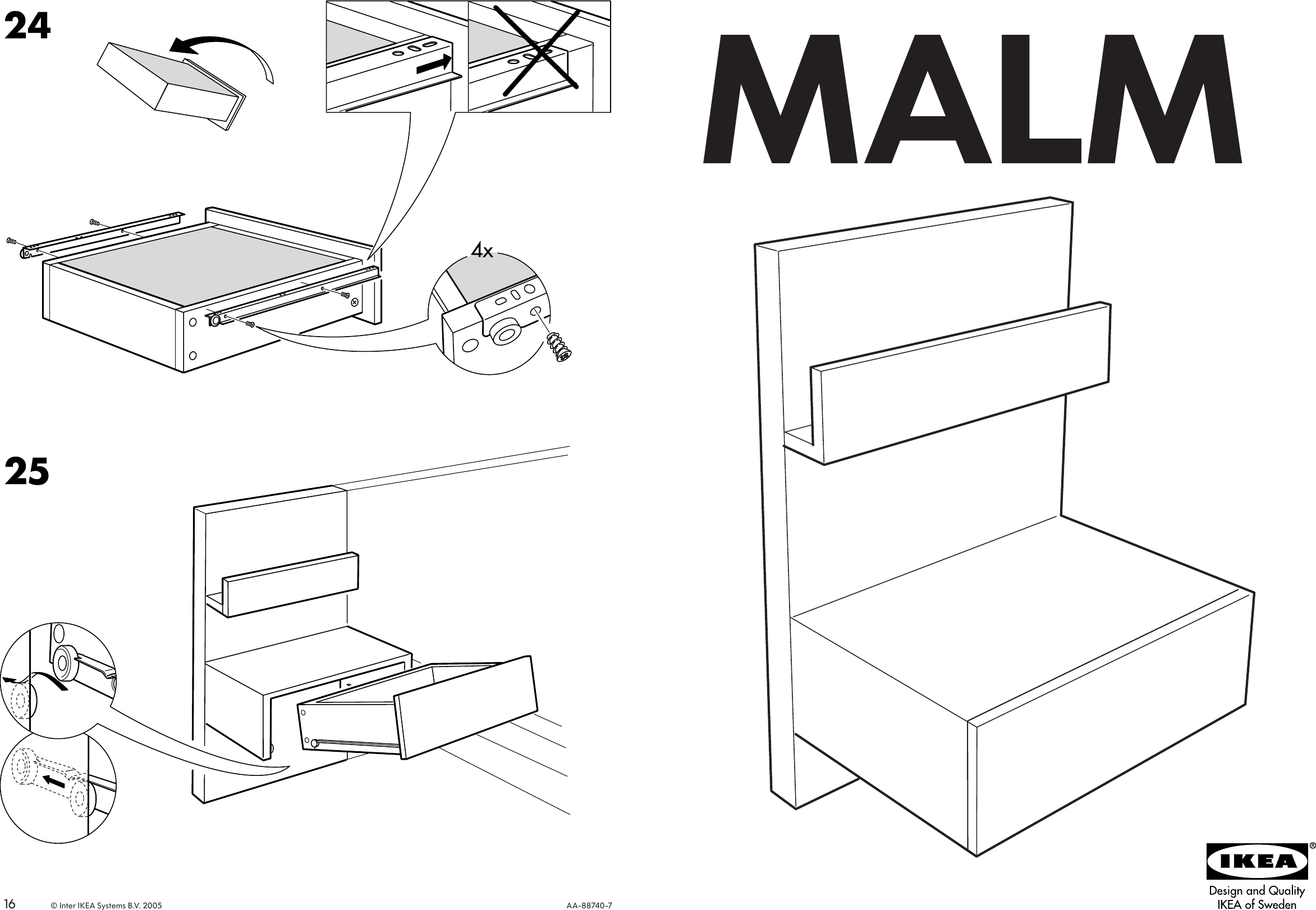 Ikea Malm Bedside Table 20x16 Assembly Instruction