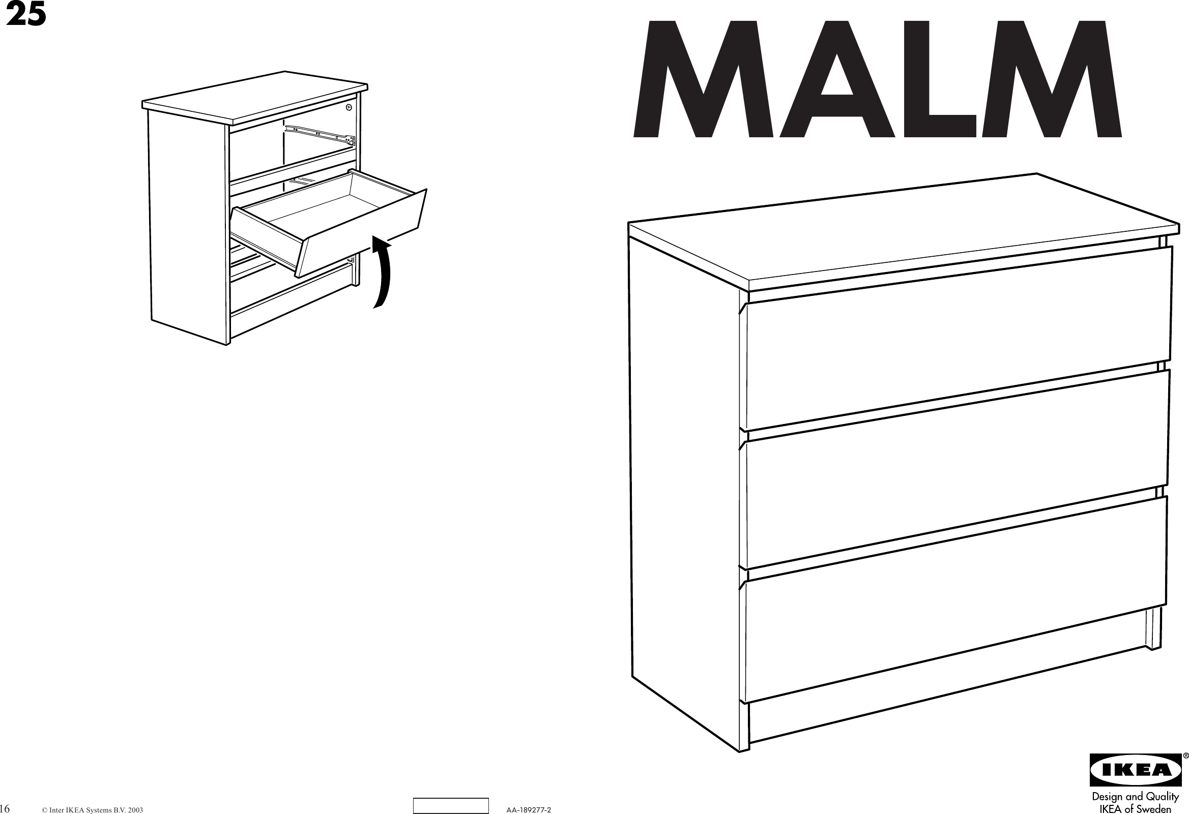 Ikea Malm Chest W Rawers 32x31