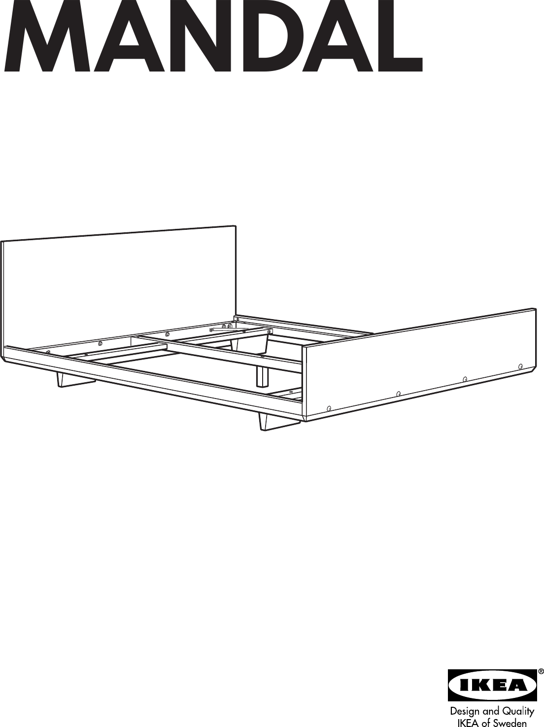 Ikea Mandal Bed Frame Full Double Assembly Instruction