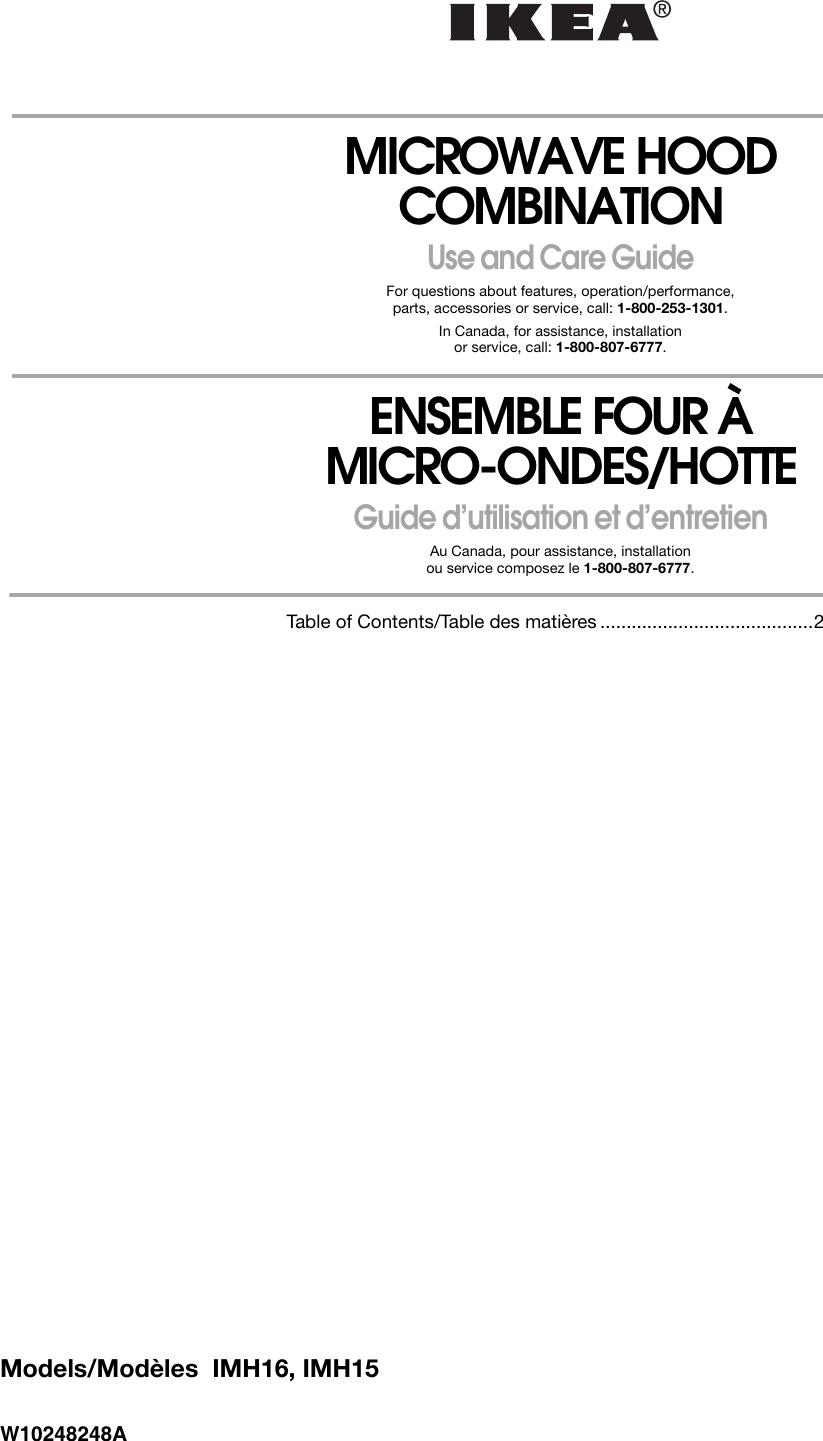 Fond De Hotte Verre Ikea ikea microwave oven imh15 users manual w10248248a