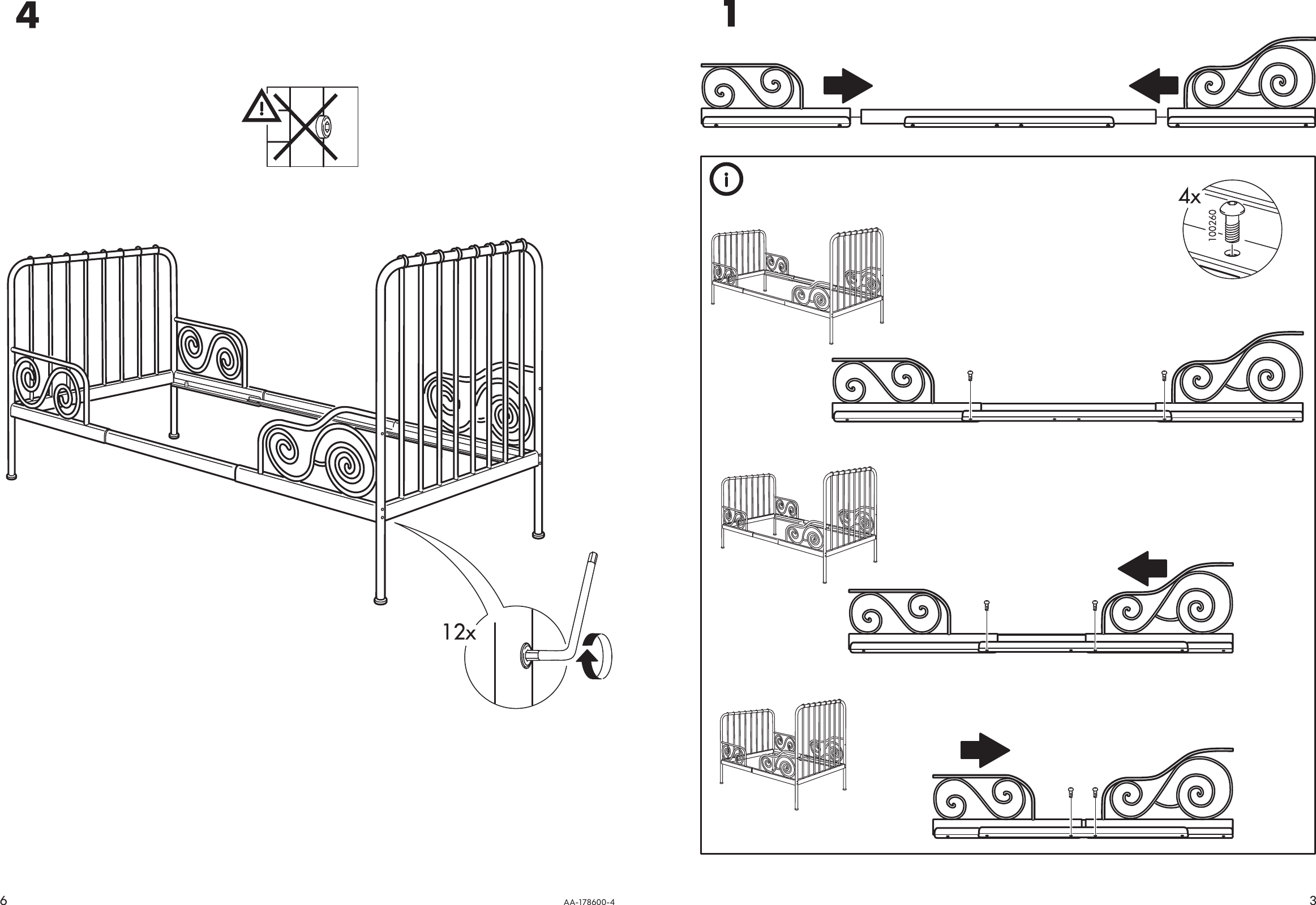 Ikea Minnen Extendable Bed Frame 38x75 Assembly Instruction