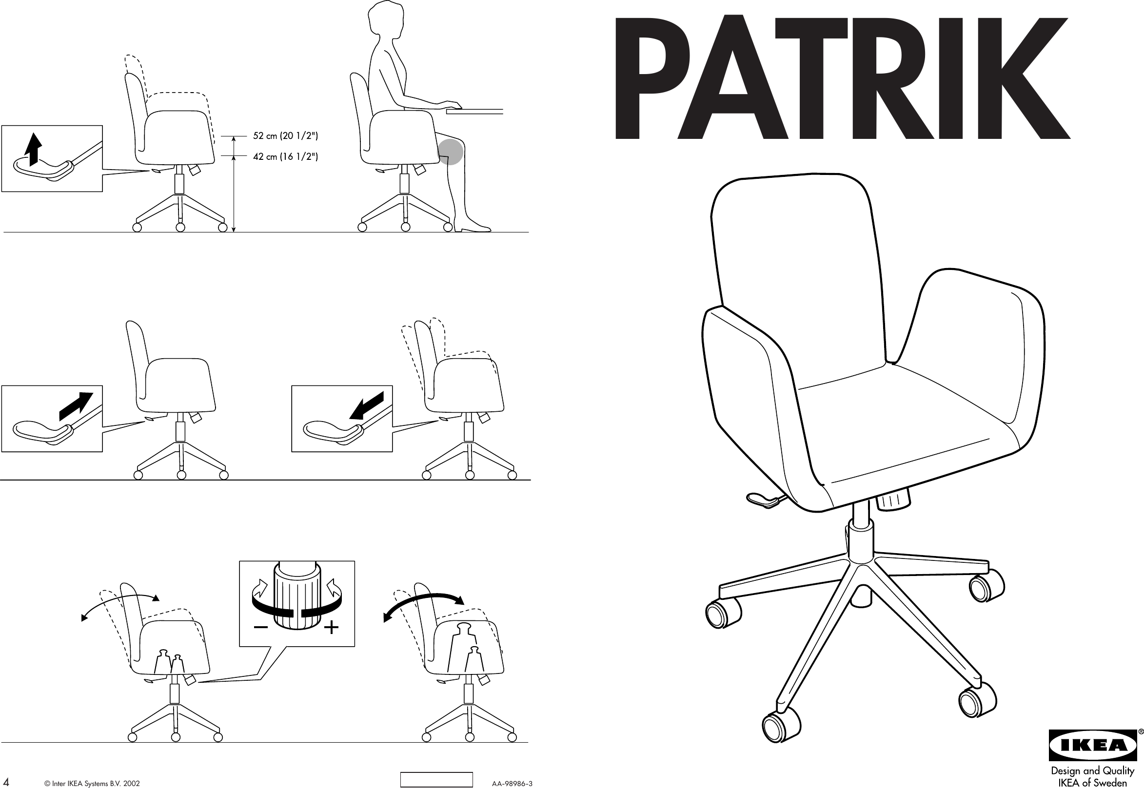 Ikea Patrik Swivel Chair Assembly Instruction 5