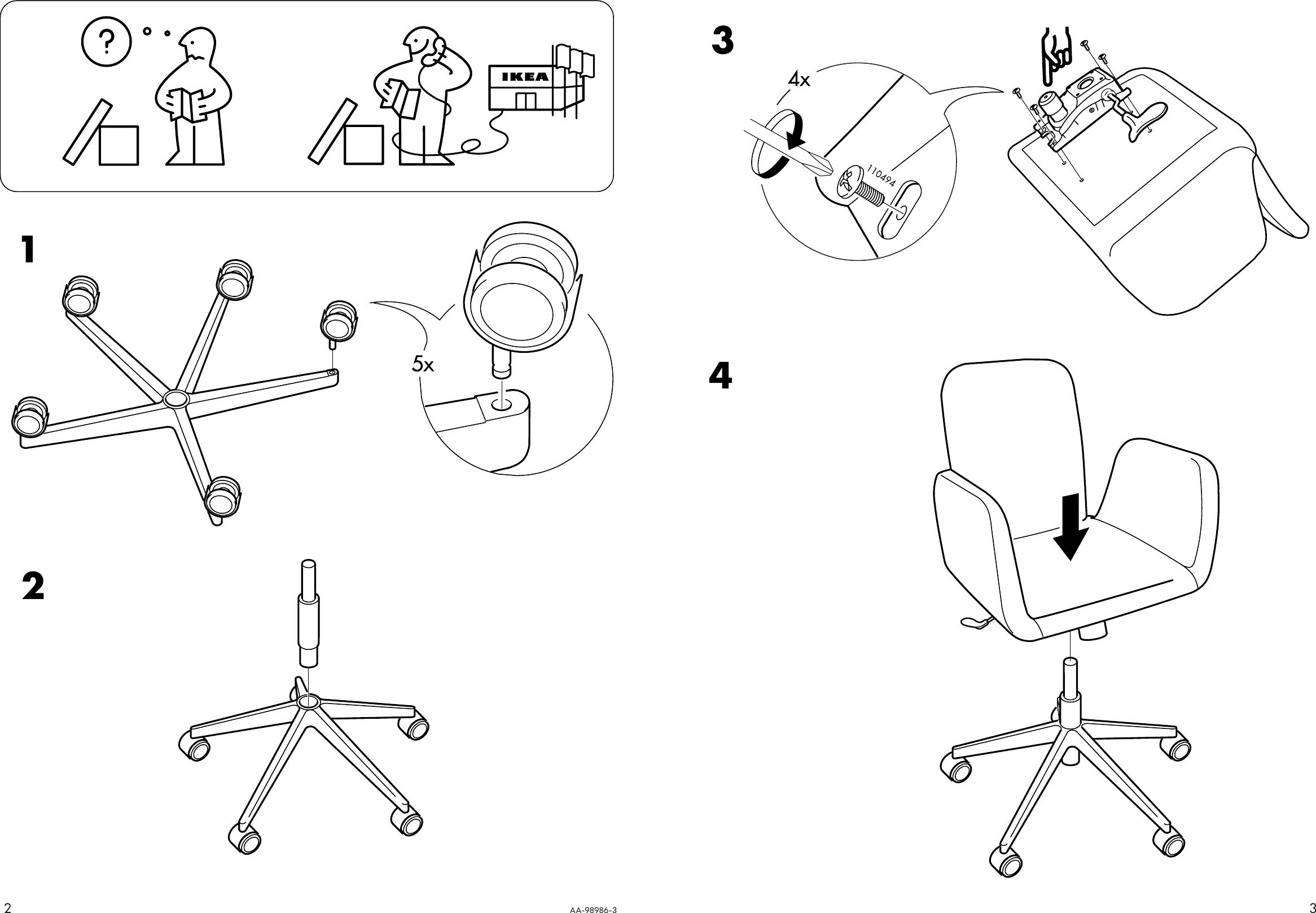 Awe Inspiring Ikea Patrik Swivel Chair Assembly Instruction 5 Inzonedesignstudio Interior Chair Design Inzonedesignstudiocom