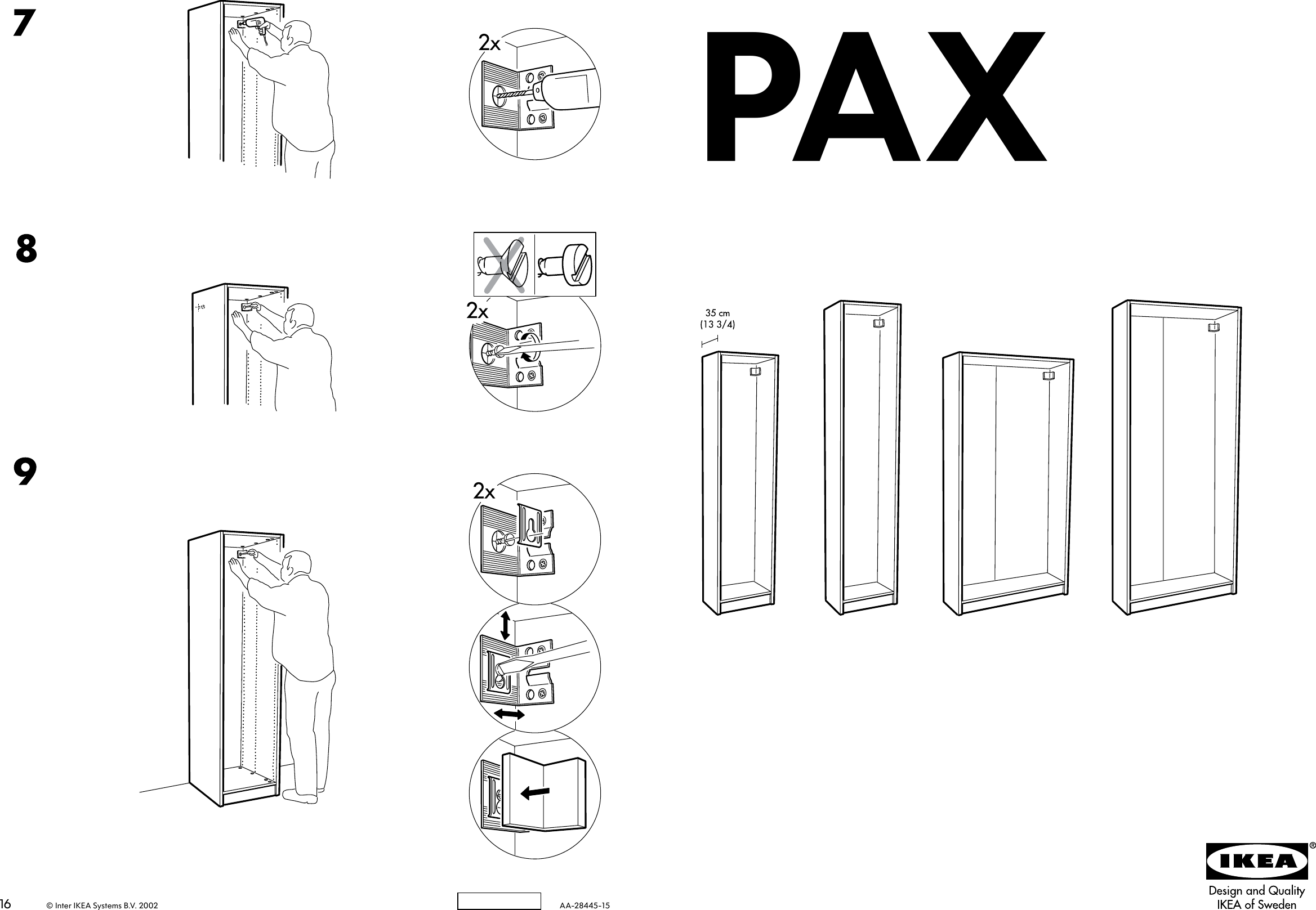Ikea Pax Wardrobe Frame 39x14x79 Assembly Instruction