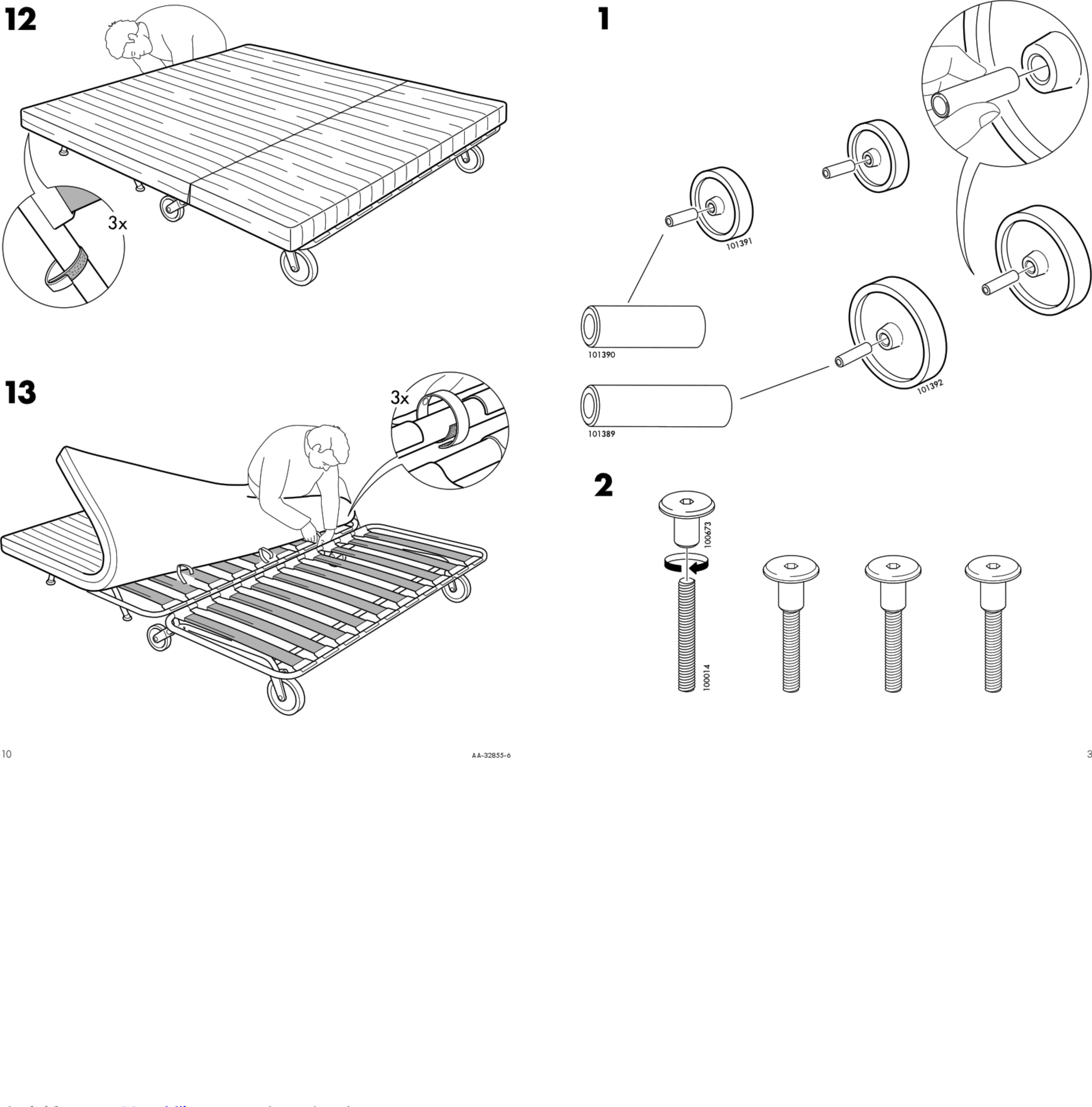 Ikea Ps Sofa Bed Frame Instructions Manual 1002790 User