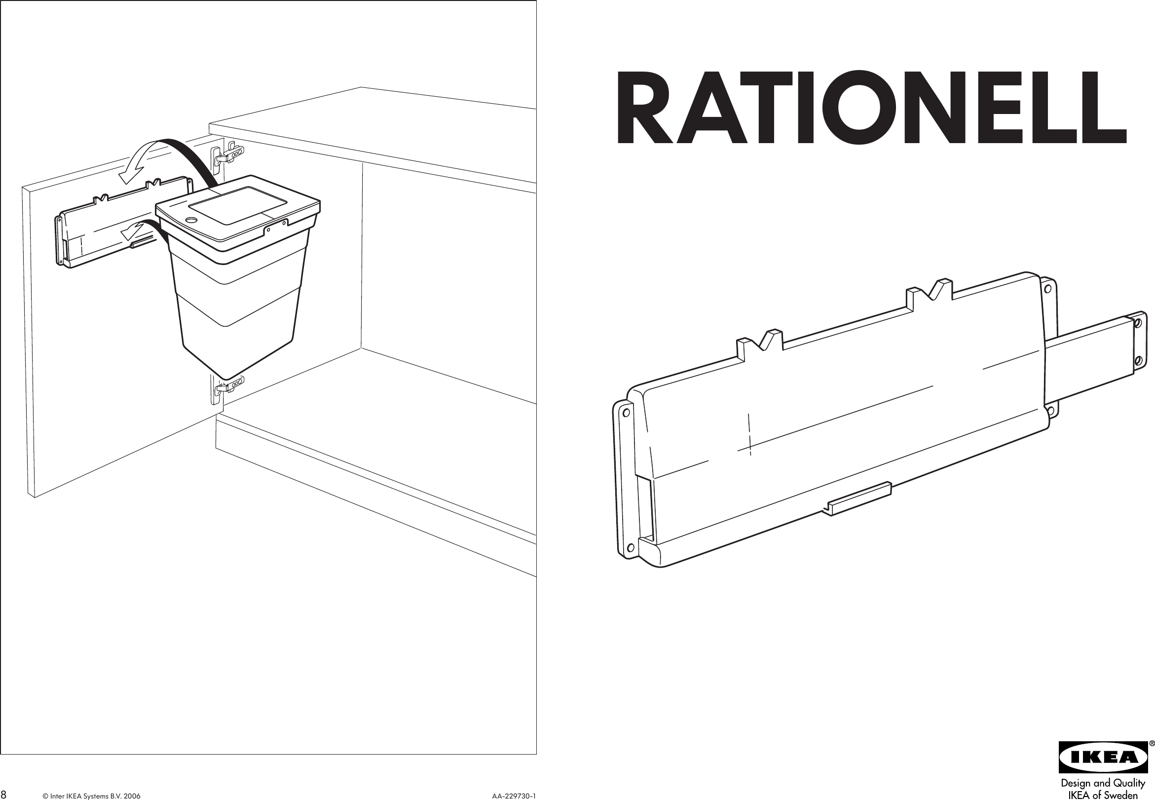 Ikea Rationell Suspension Rail For Wastebin Assembly Instruction
