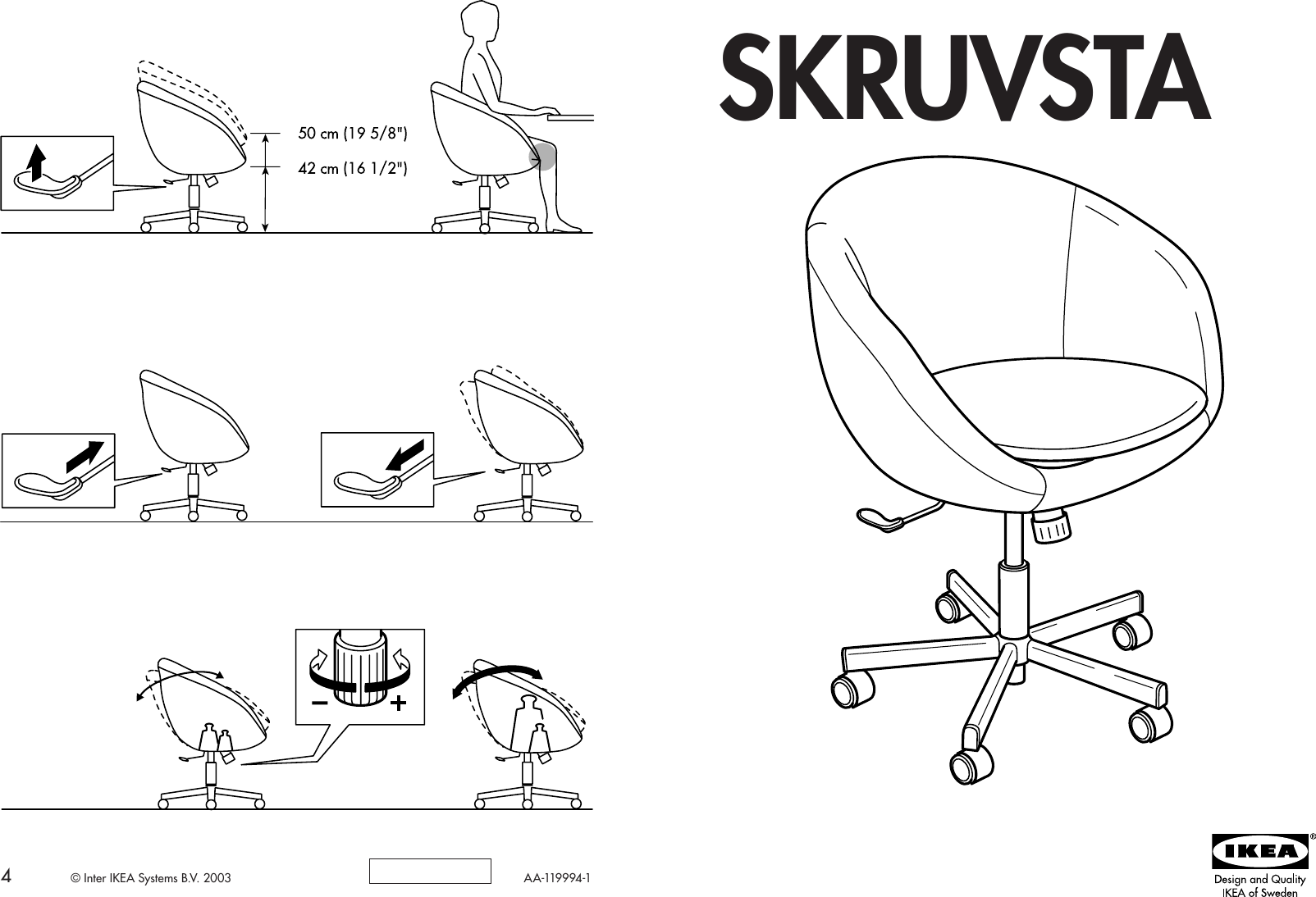 Ikea Skruvsta Swivel Chair Assembly Instruction