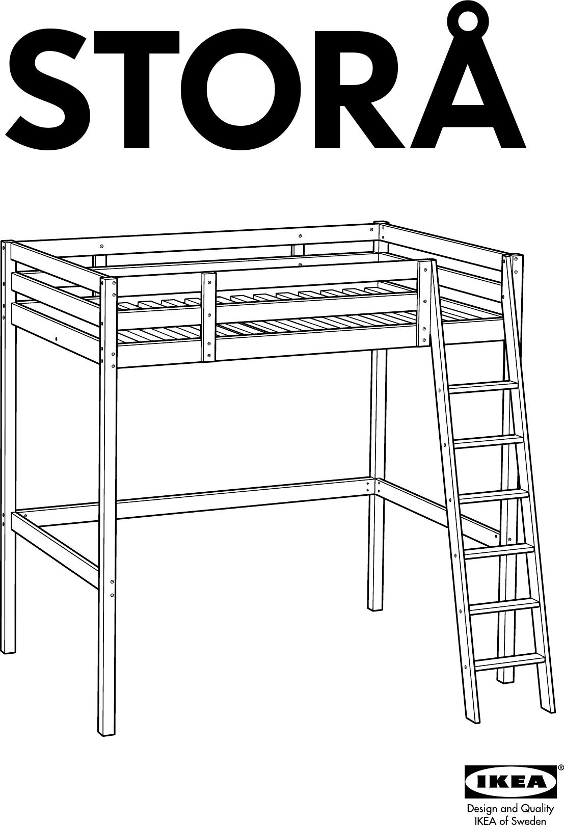 Ikea Stora Loft Bed Frame Full Double Assembly Instruction