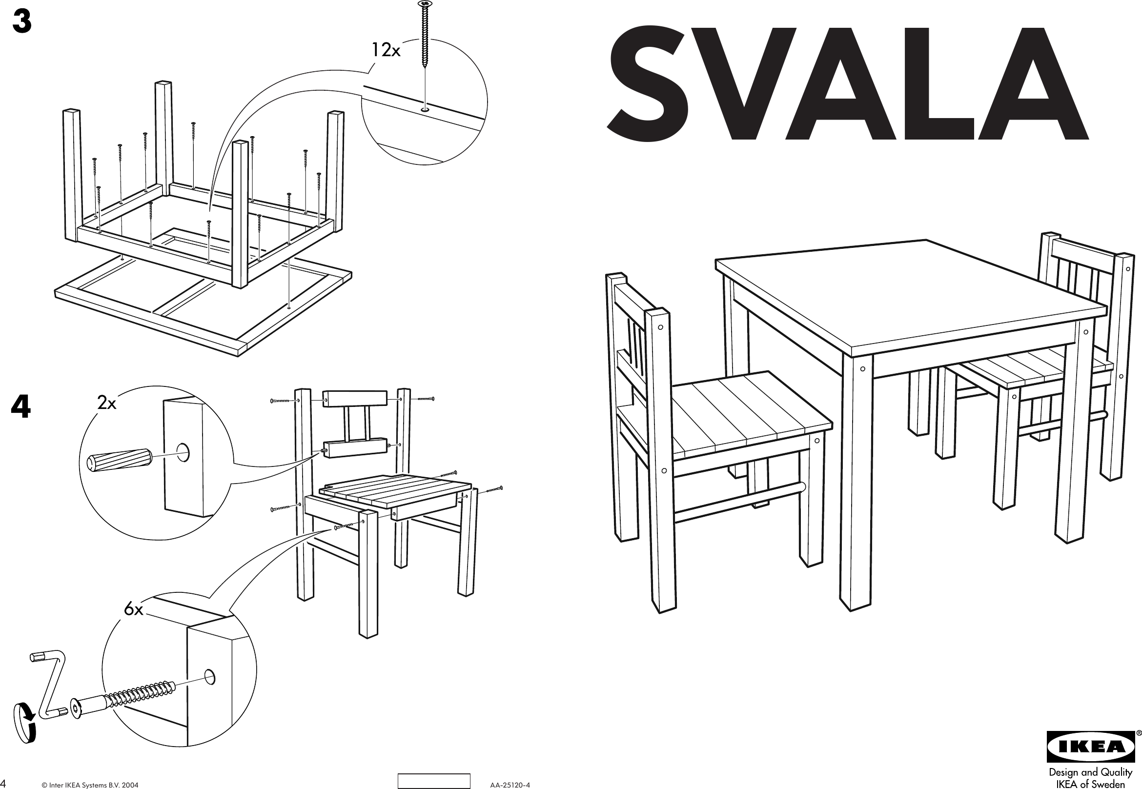 Page 1 of 2 - Ikea Ikea-Svala-Children-S-Table-W-2-Chairs-Assembly-Instruction