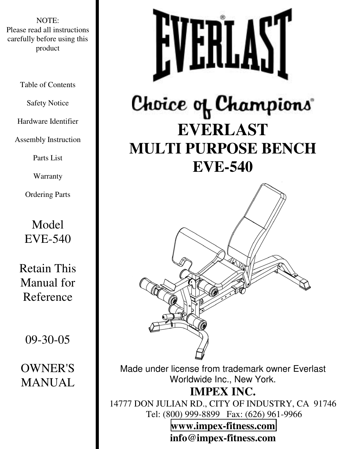 Impex Fitness Eve 540 Users Manual PARTS LIST